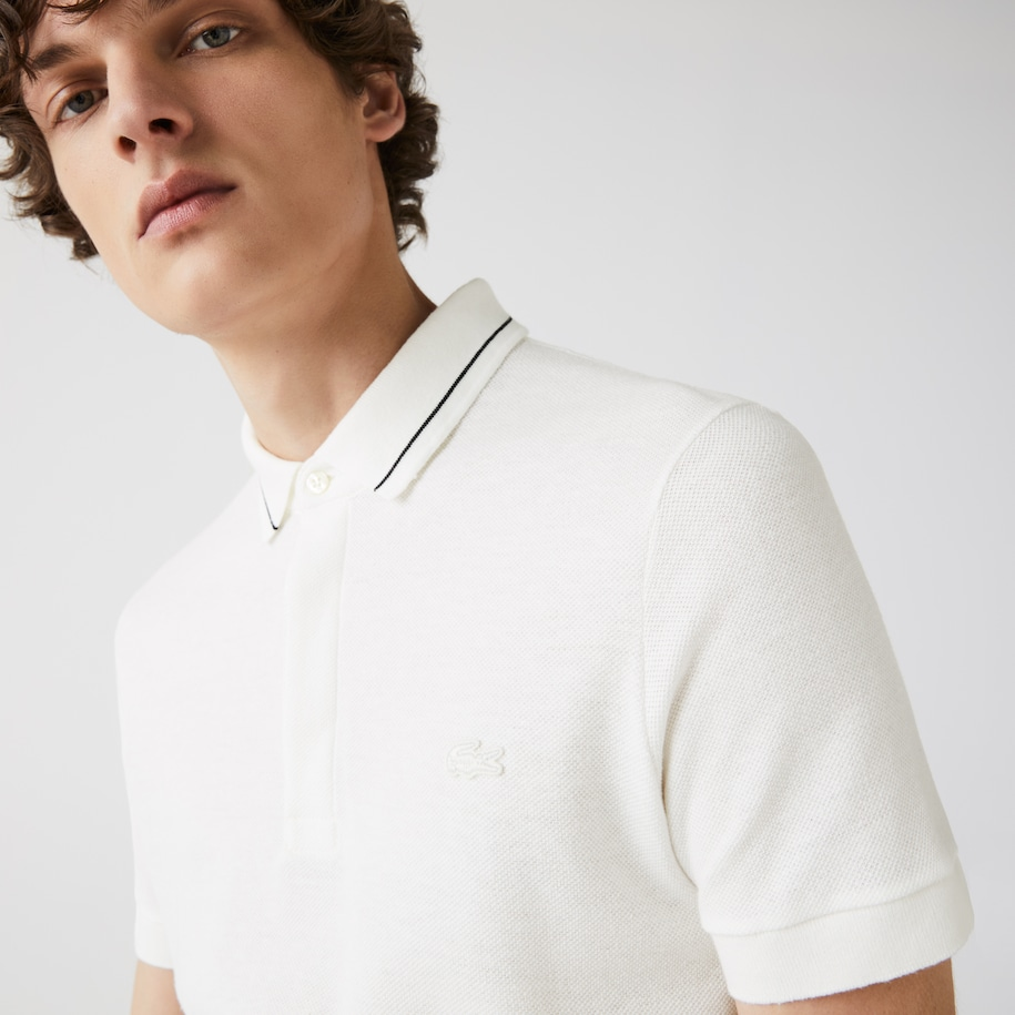 Polo da uomo in misto cotone e lino regular fit Lacoste