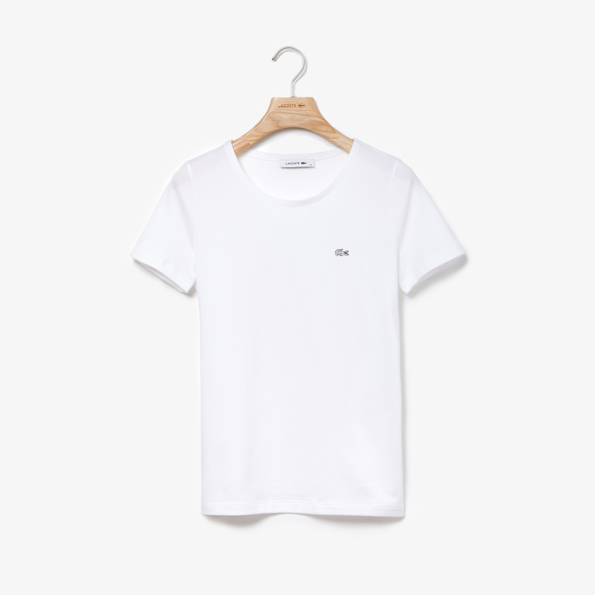 T-shirt a girocollo in jersey di cotone fluido tinta unita