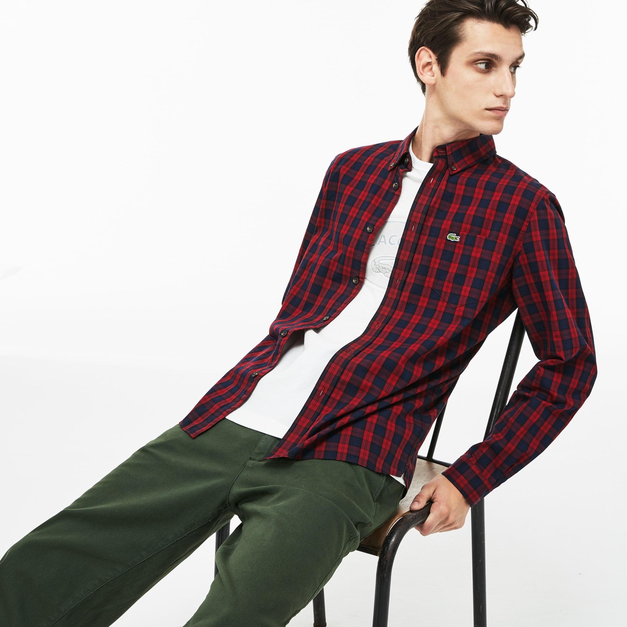 Camicia regular fit Lacoste Motion in twill di cotone a quadretti