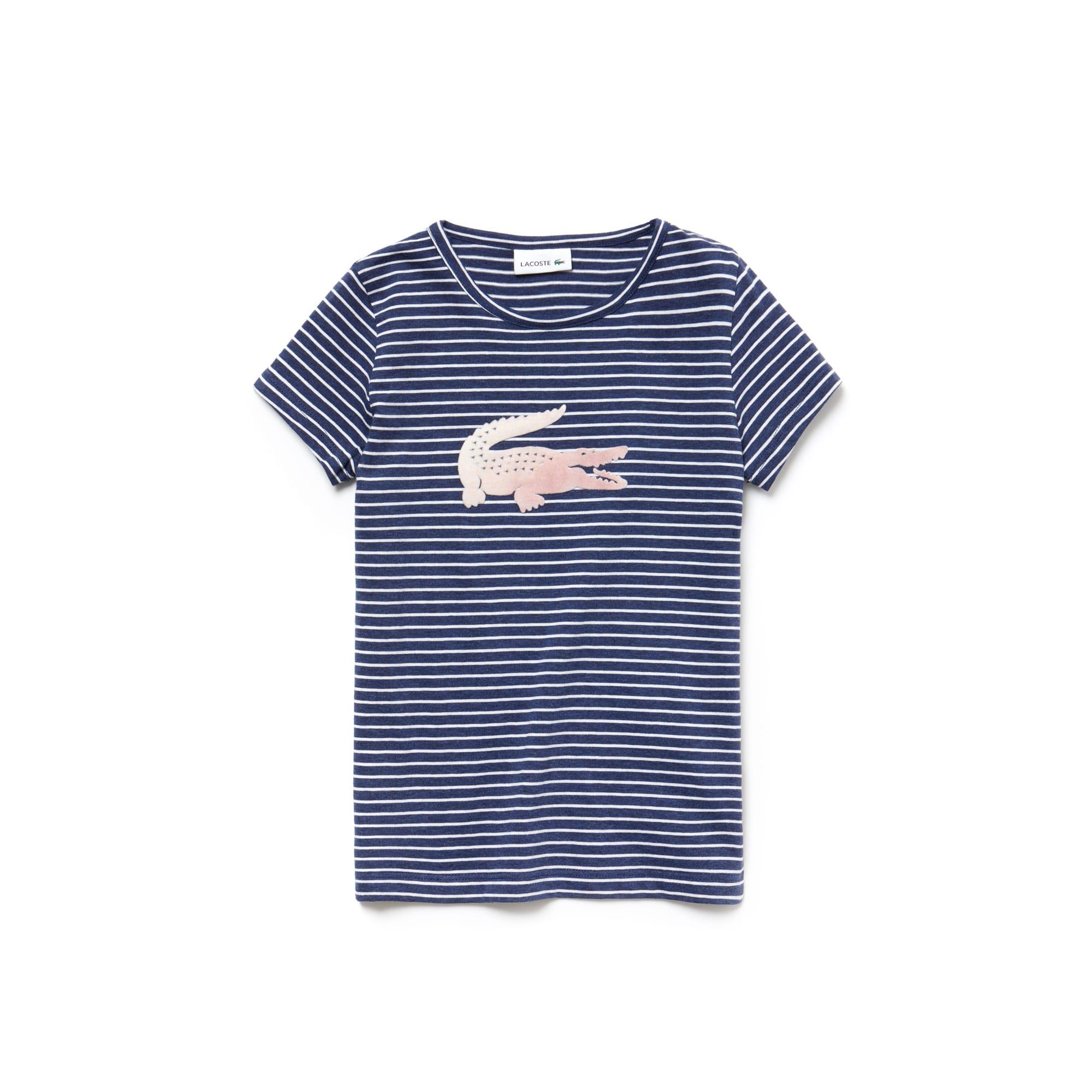T-shirt Bambina a girocollo in jersey a righe con coccodrillo oversize