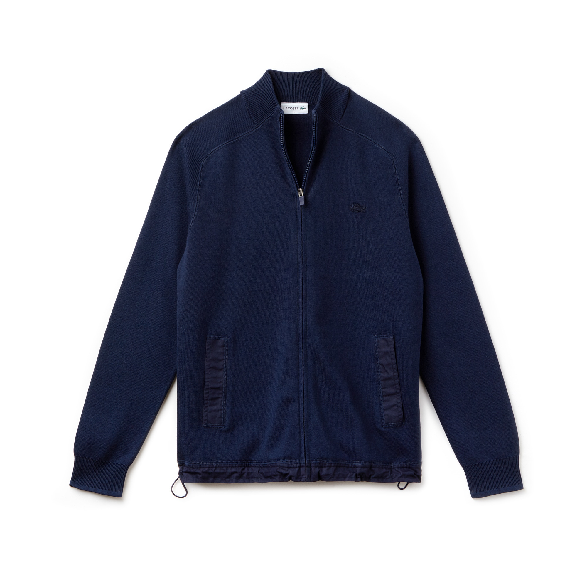 Pullover in cotone a costine con zip e collo a listino dotato di dettagli a contrasto