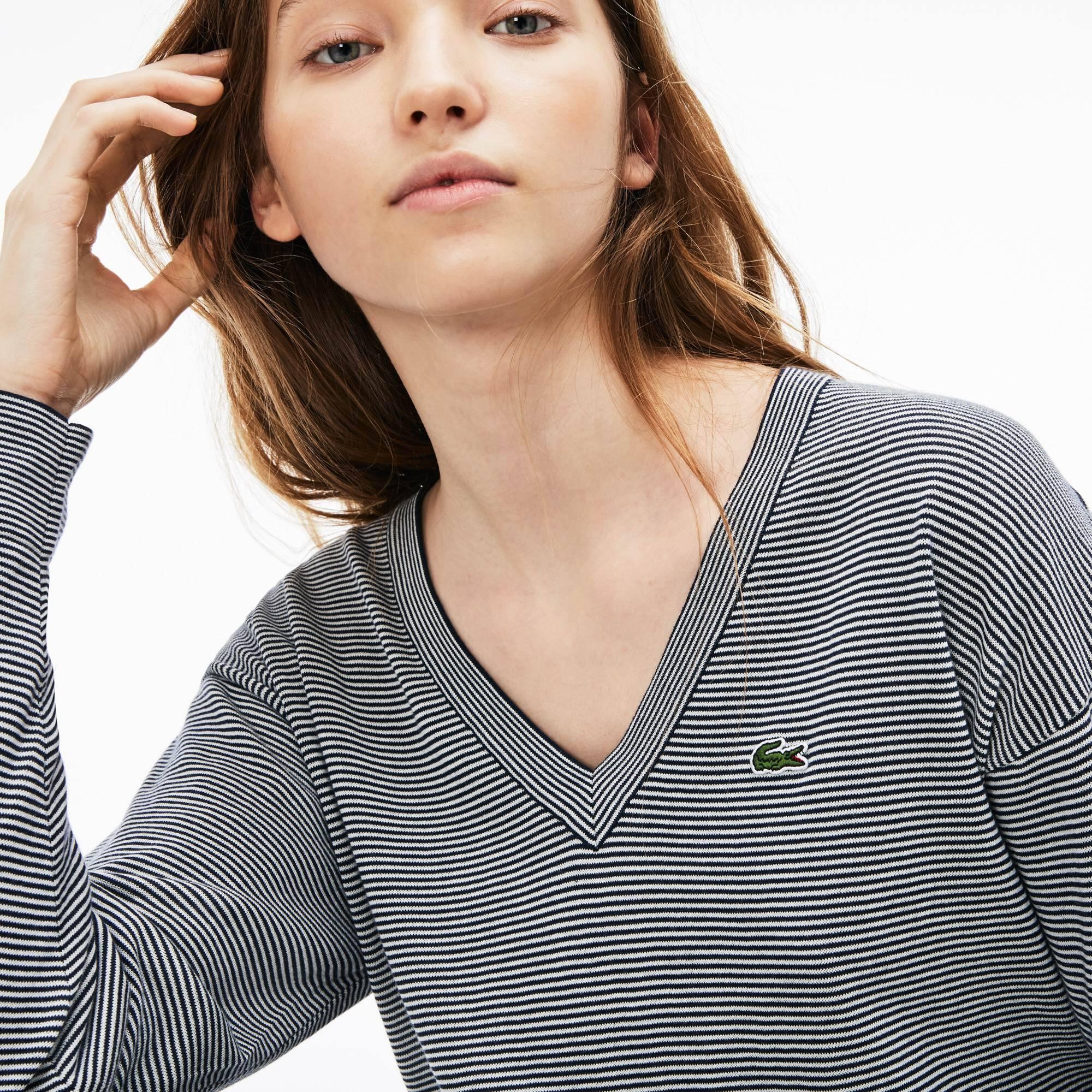 Pullover con collo a V in jersey di cotone millerighe