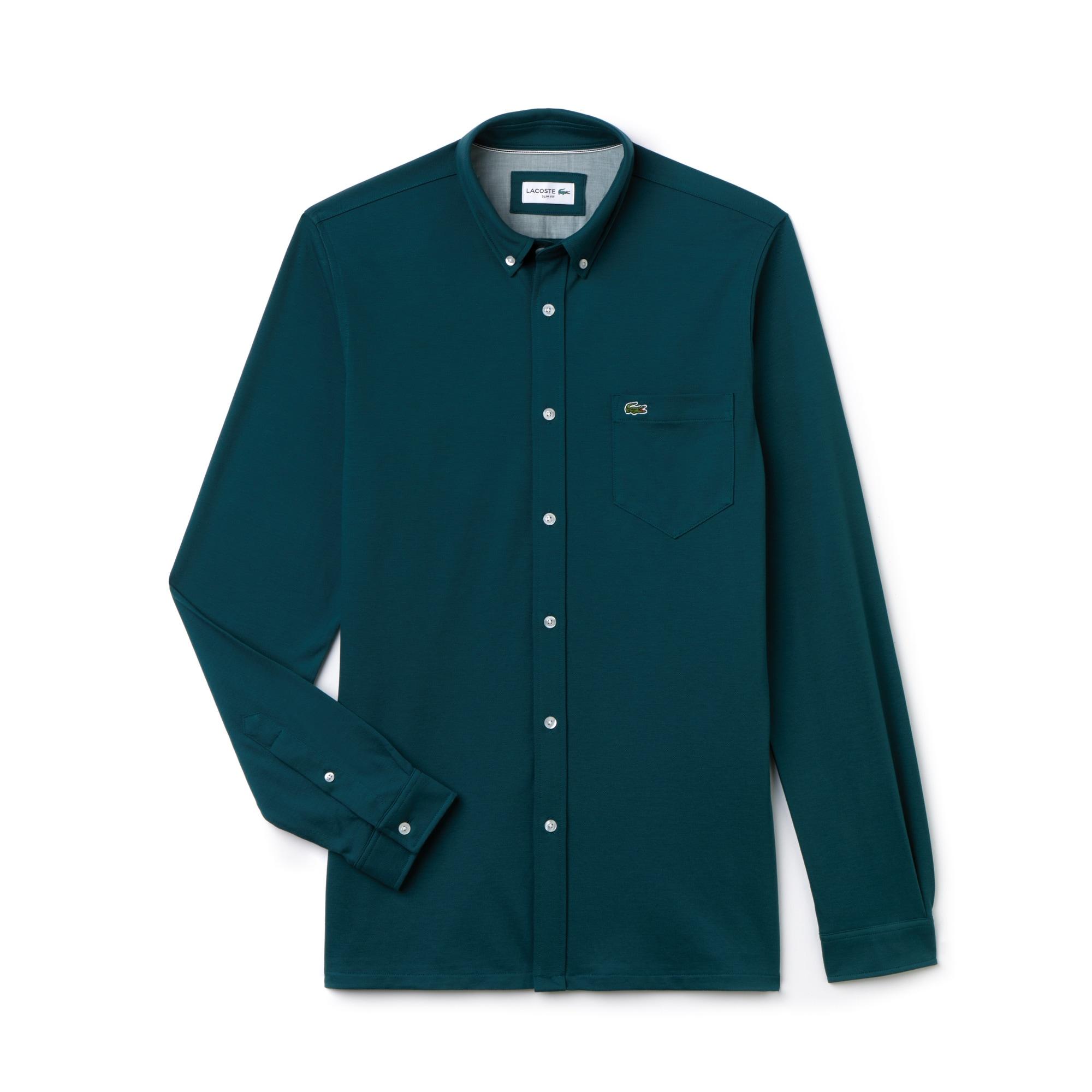 Camicia slim fit in jersey di cotone