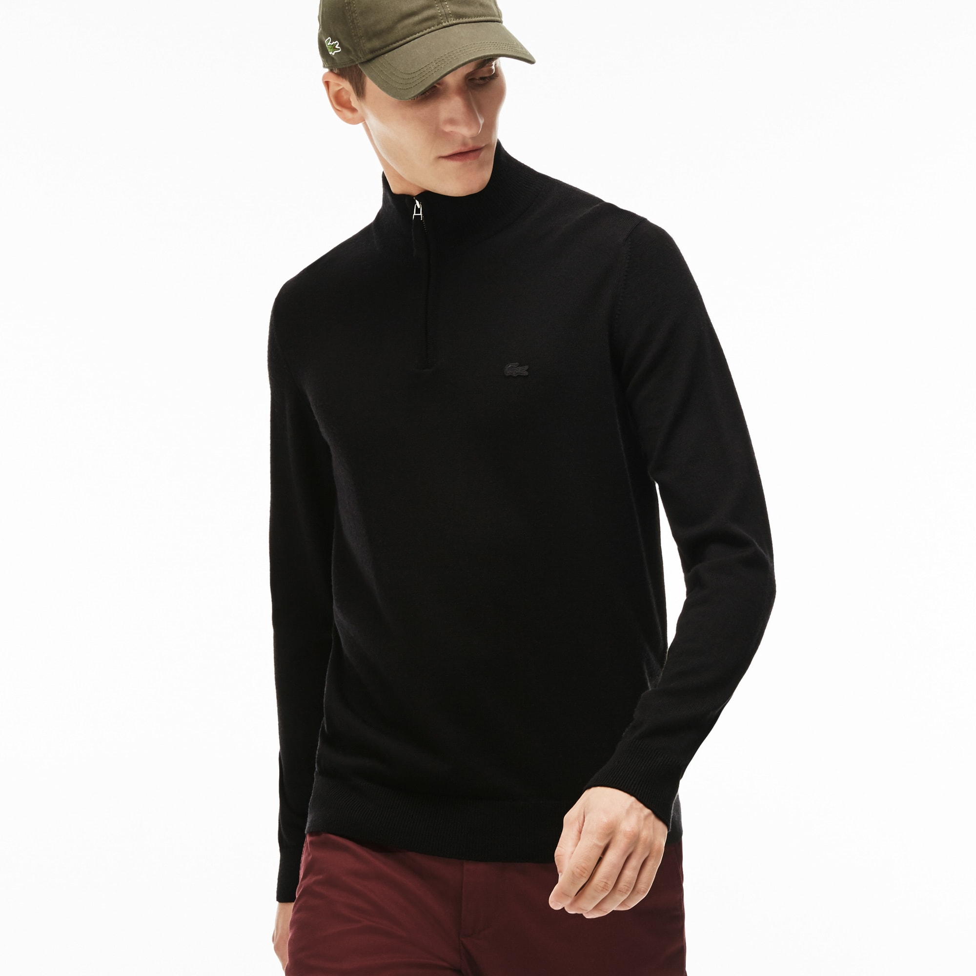 Pullover con collo a listino e zip in jersey di lana tinta unita