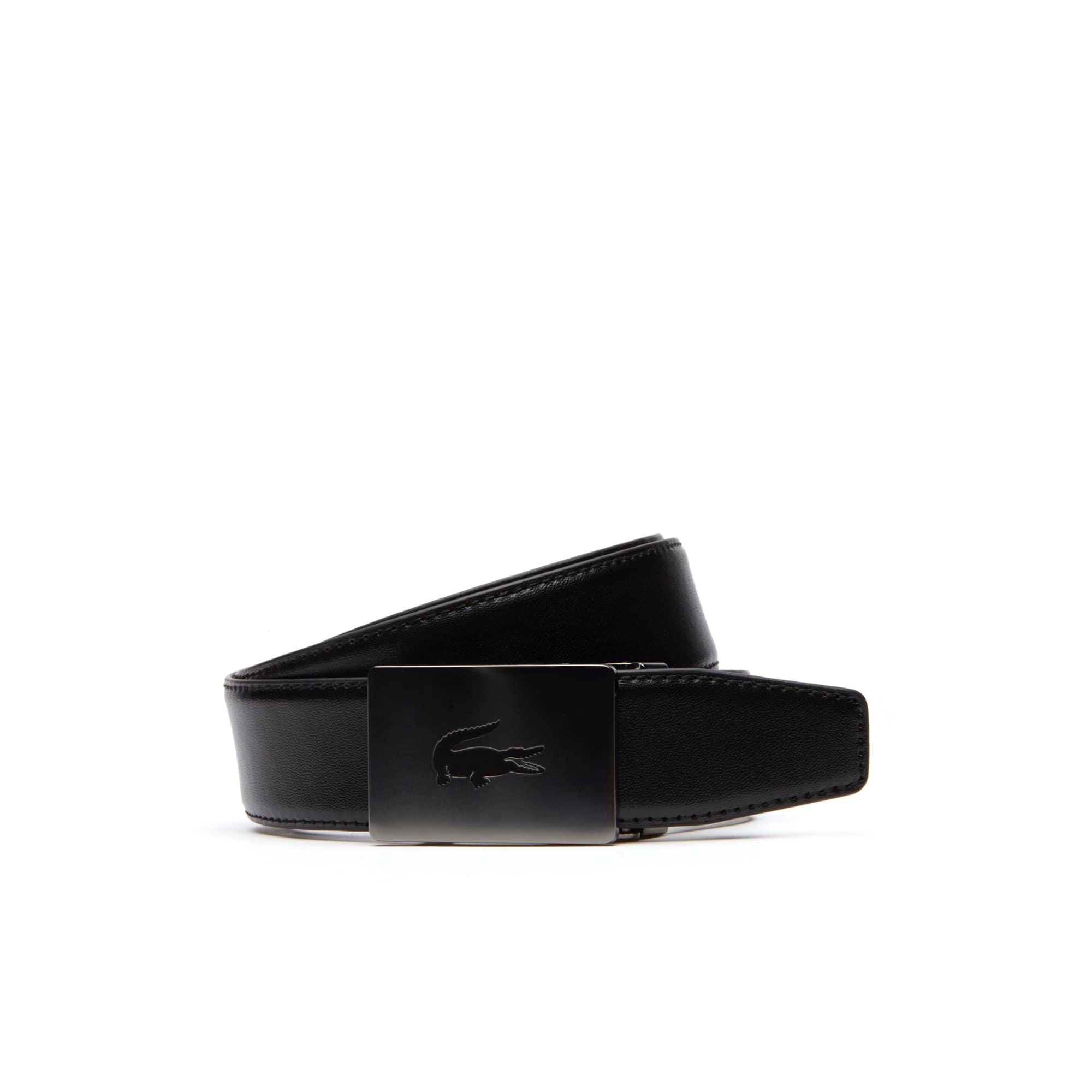 Cintura elastica in pelle con fibbia a placca autobloccante da uomo