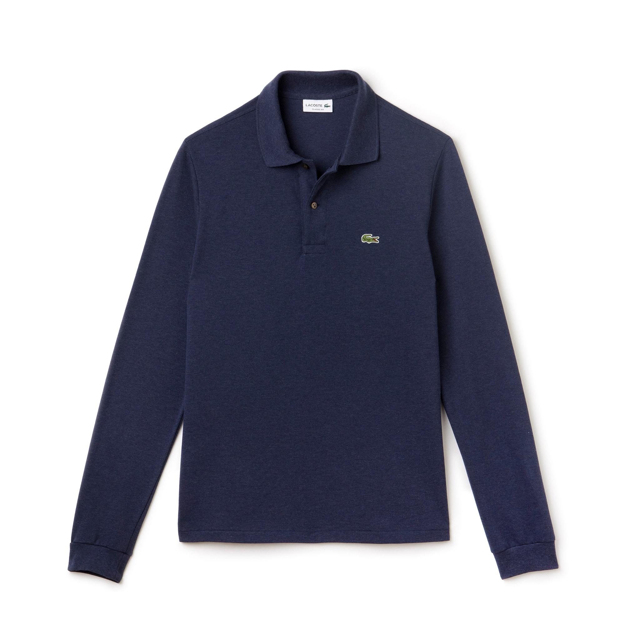 Polo Lacoste classic fit in petit piqué chiné a maniche lunghe