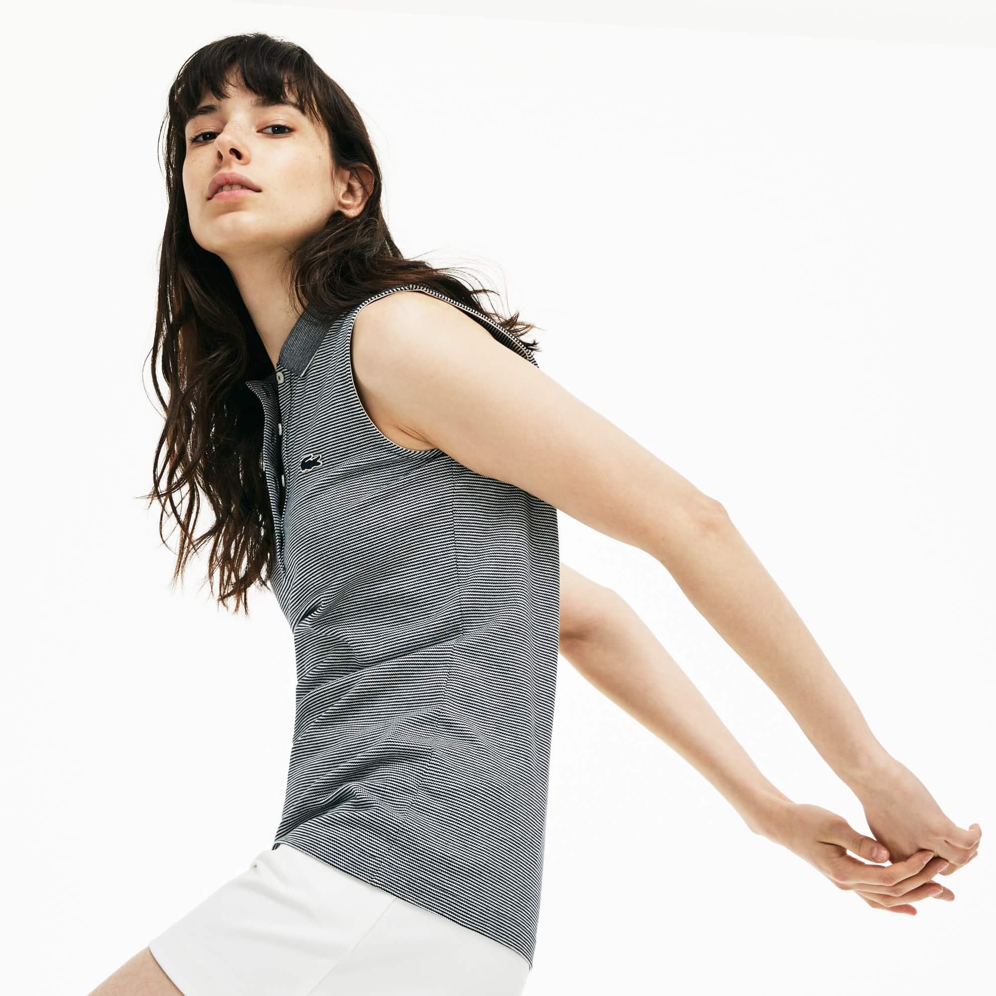 Polo slim fit Lacoste senza maniche in mini piqué stretch millerighe
