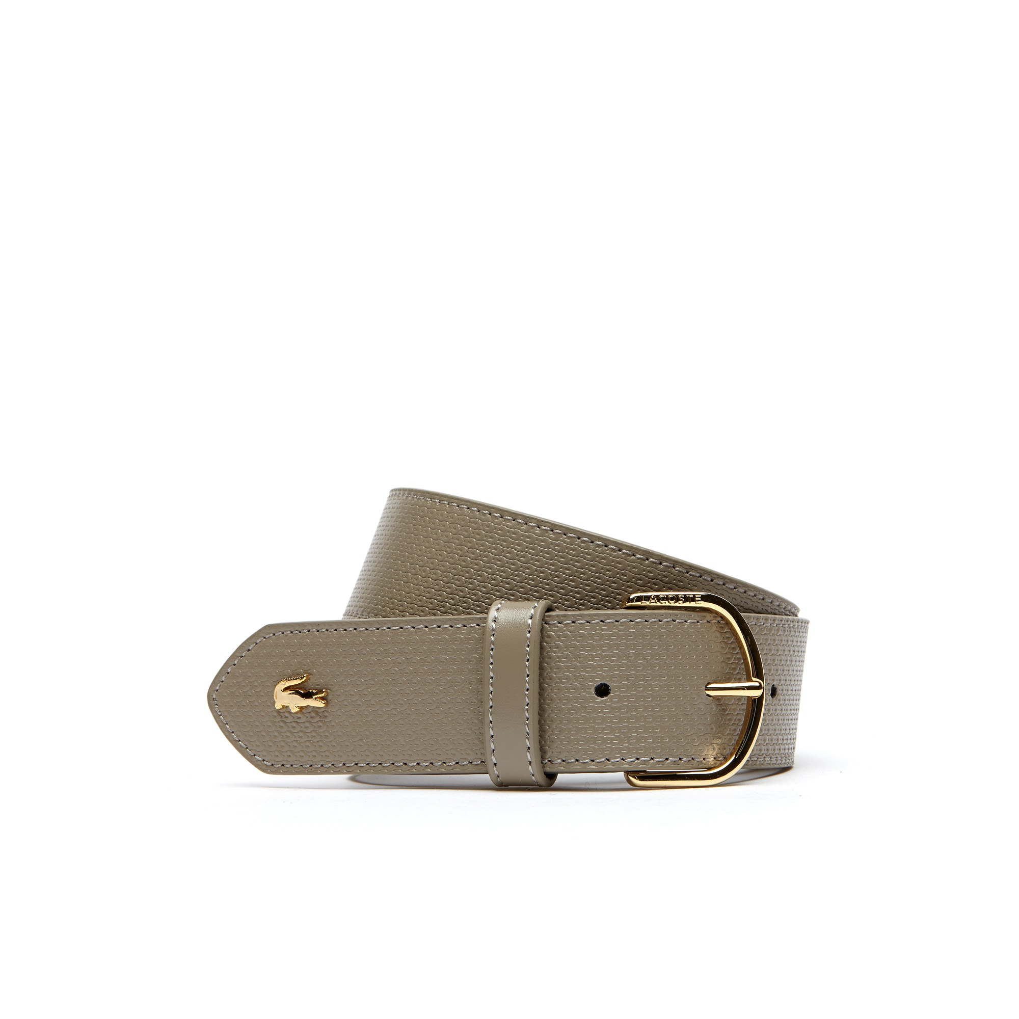 Cintura in pelle stampata con motivo petit piqué Chantaco con fibbia ad ardiglione Lacoste