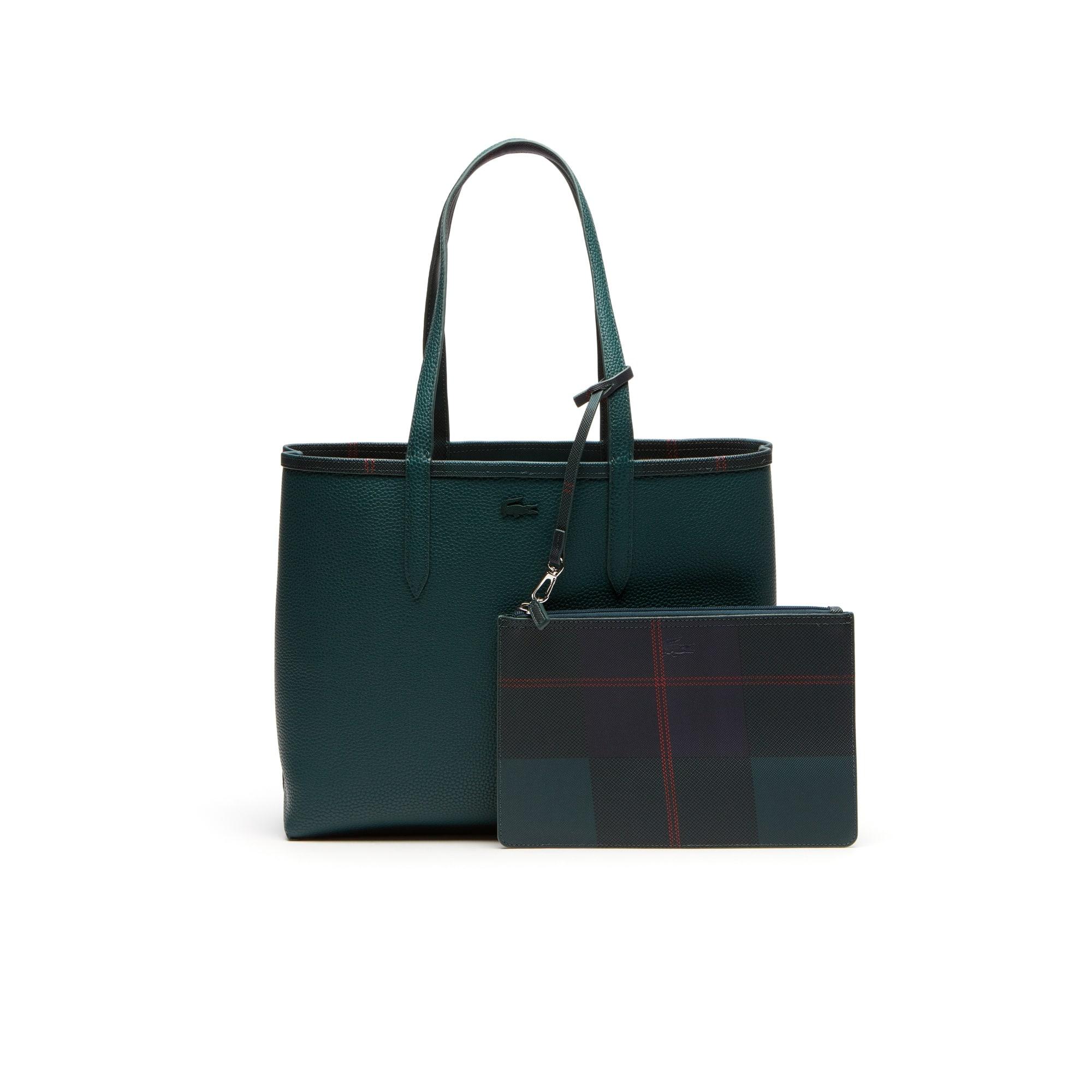 Shopping bag con stampa a quadri bicolore double face Anna da donna