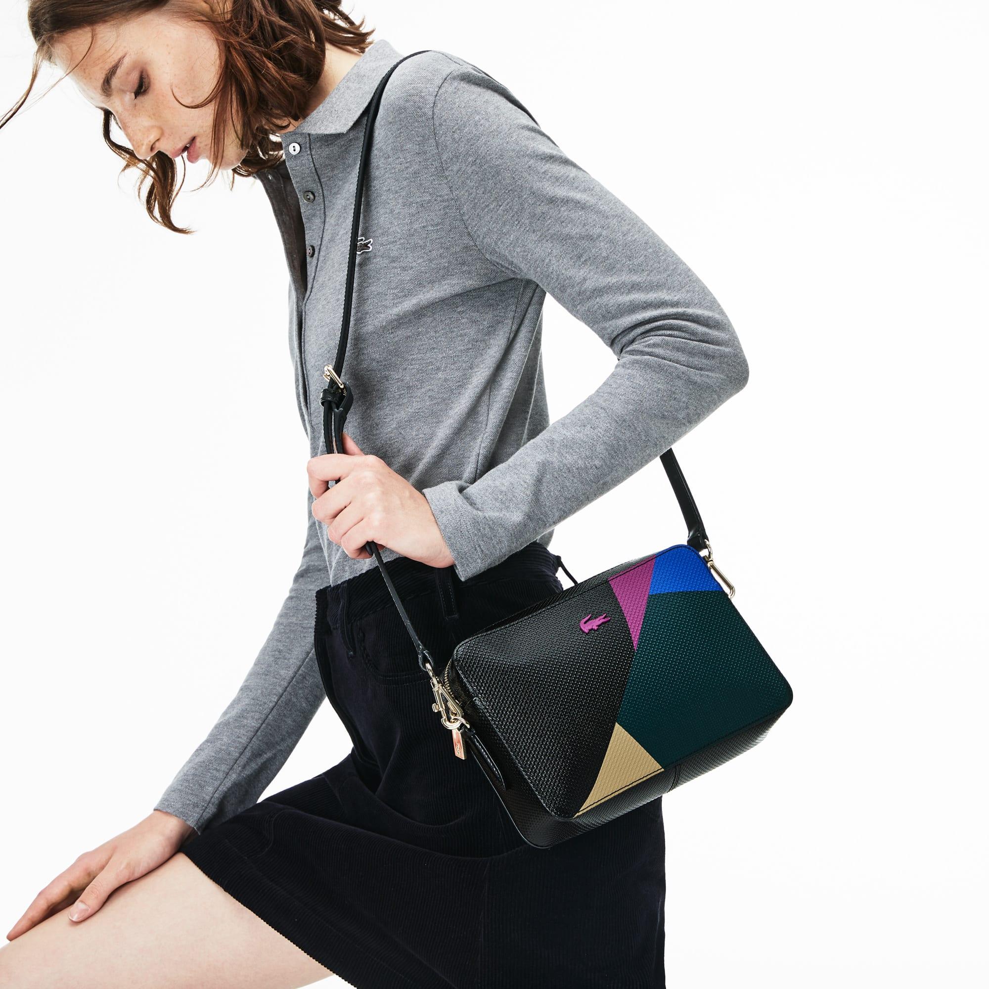 Borsa a tracolla formato quadrato in pelle con stampa color block Chantaco da donna