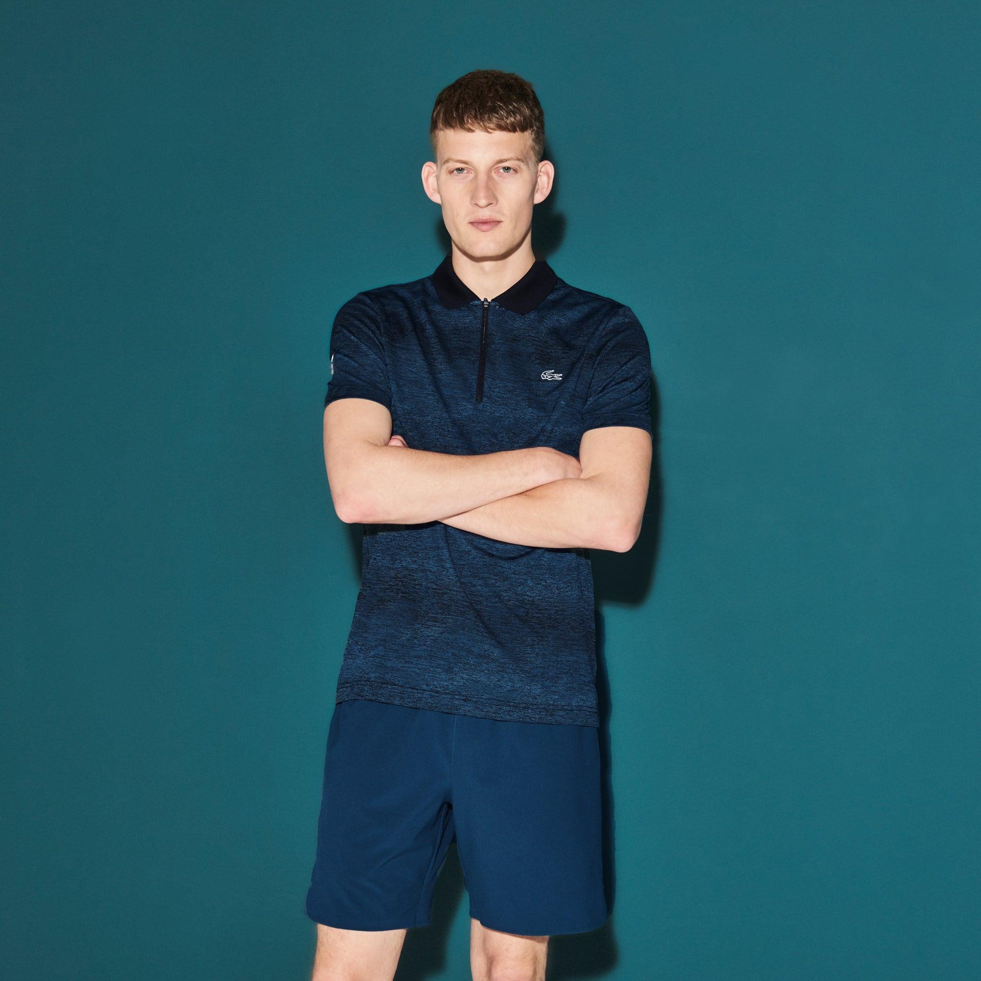 Polo con collo a zip Tennis Lacoste SPORT in jersey tecnico stampato