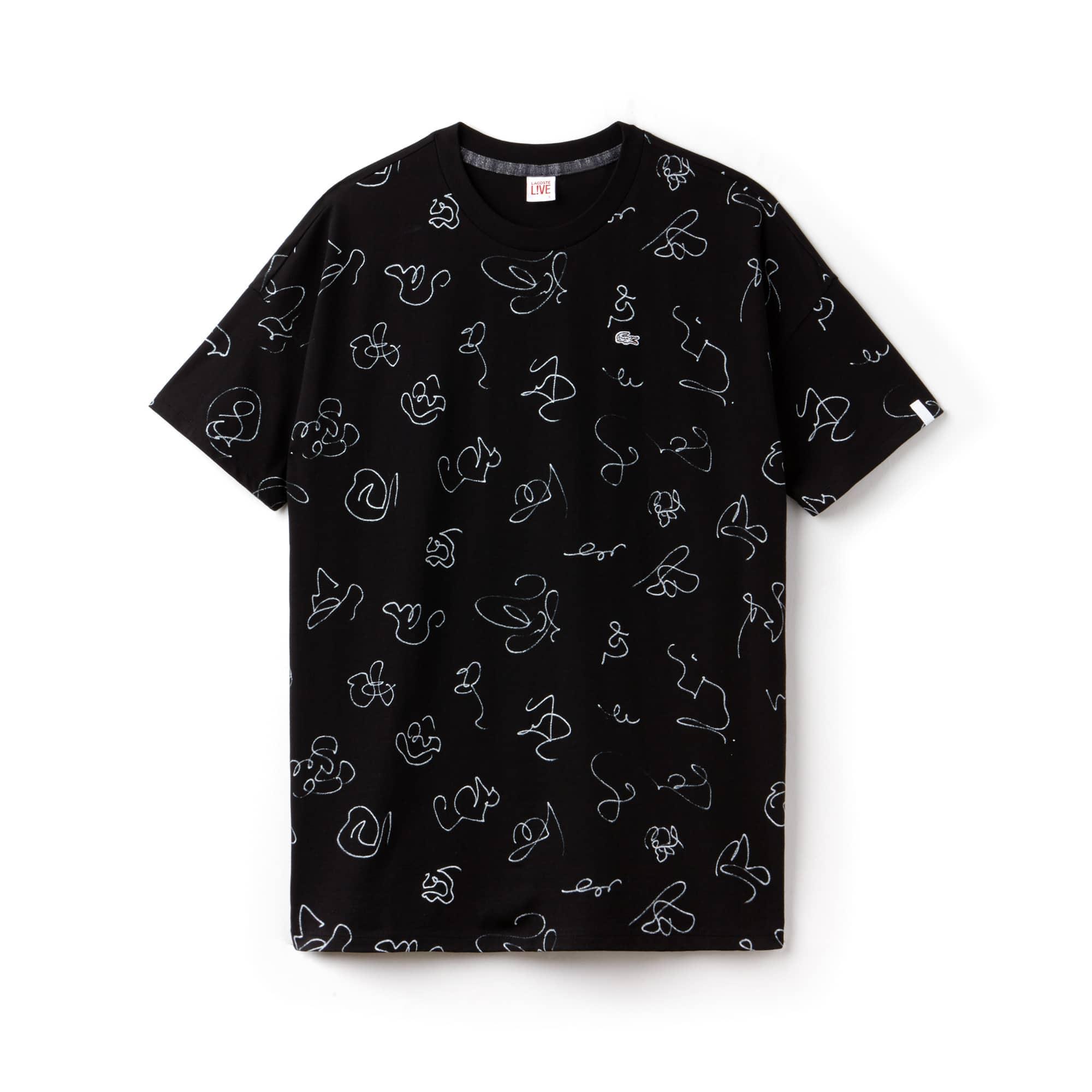 T-shirt a girocollo Lacoste LIVE in jersey con stampa graffiti