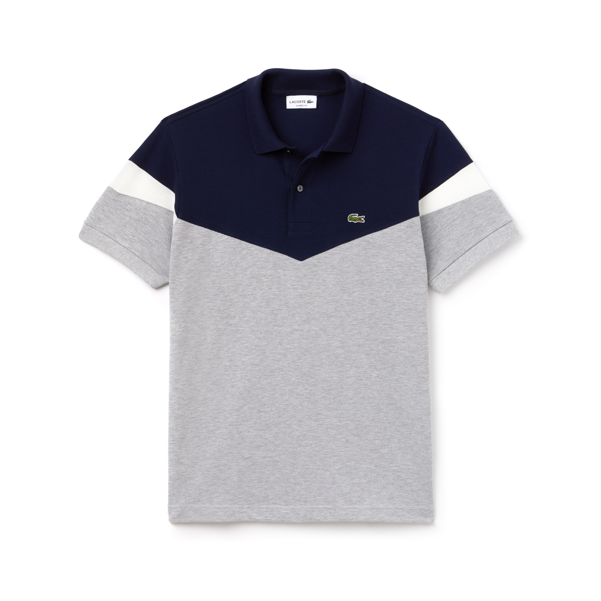 Polo classic fit Lacoste in petit piqué di cotone color block