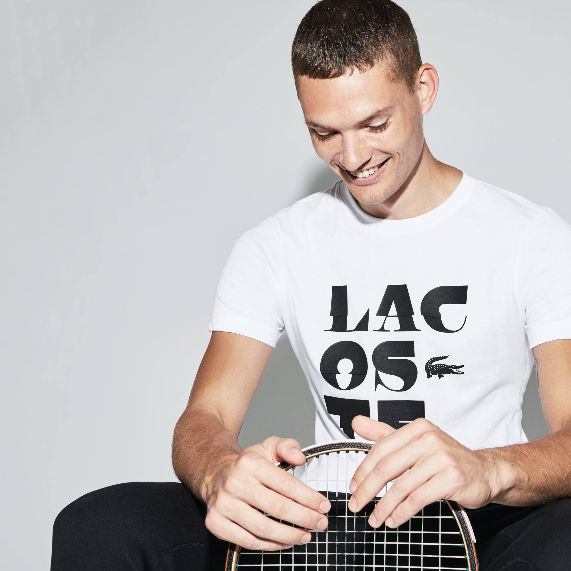 T-shirt a girocollo Tennis Lacoste SPORT in jersey tecnico con scritta