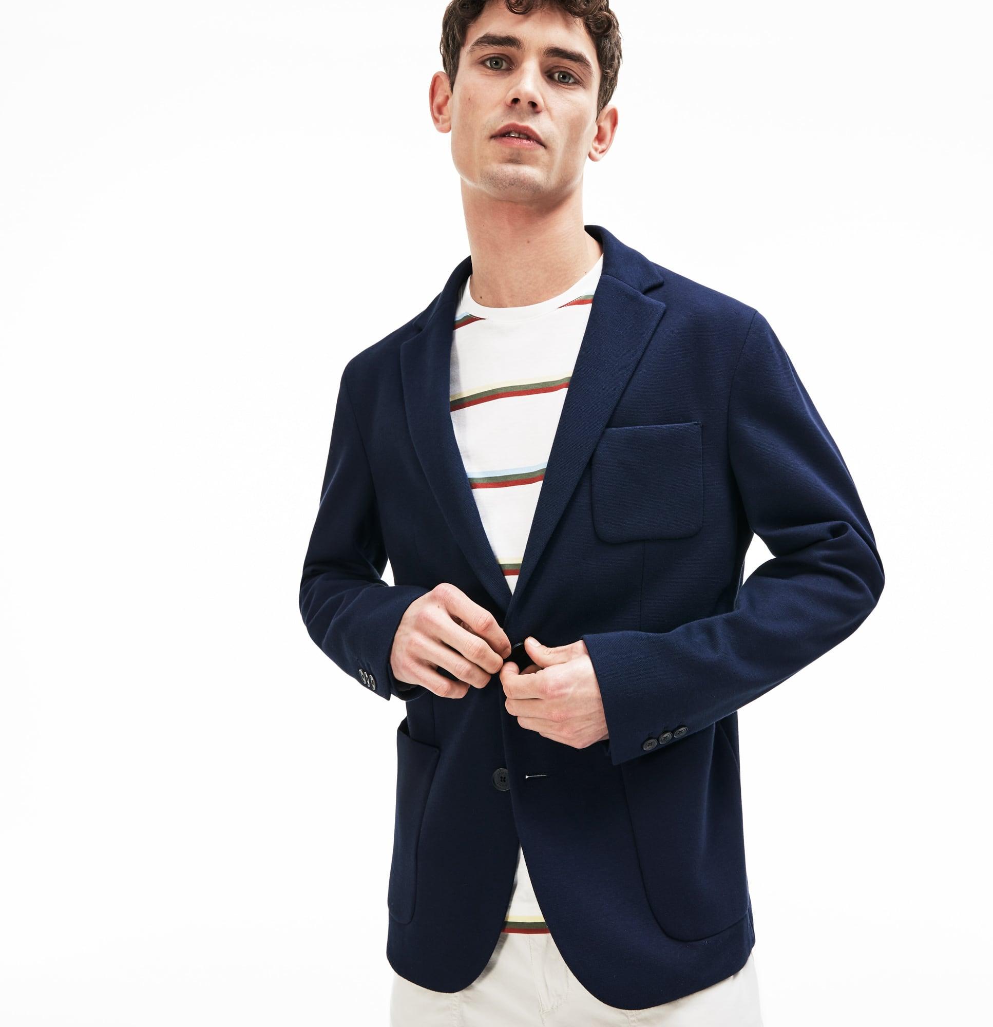 Blazer in piqué e jersey di cotone stretch