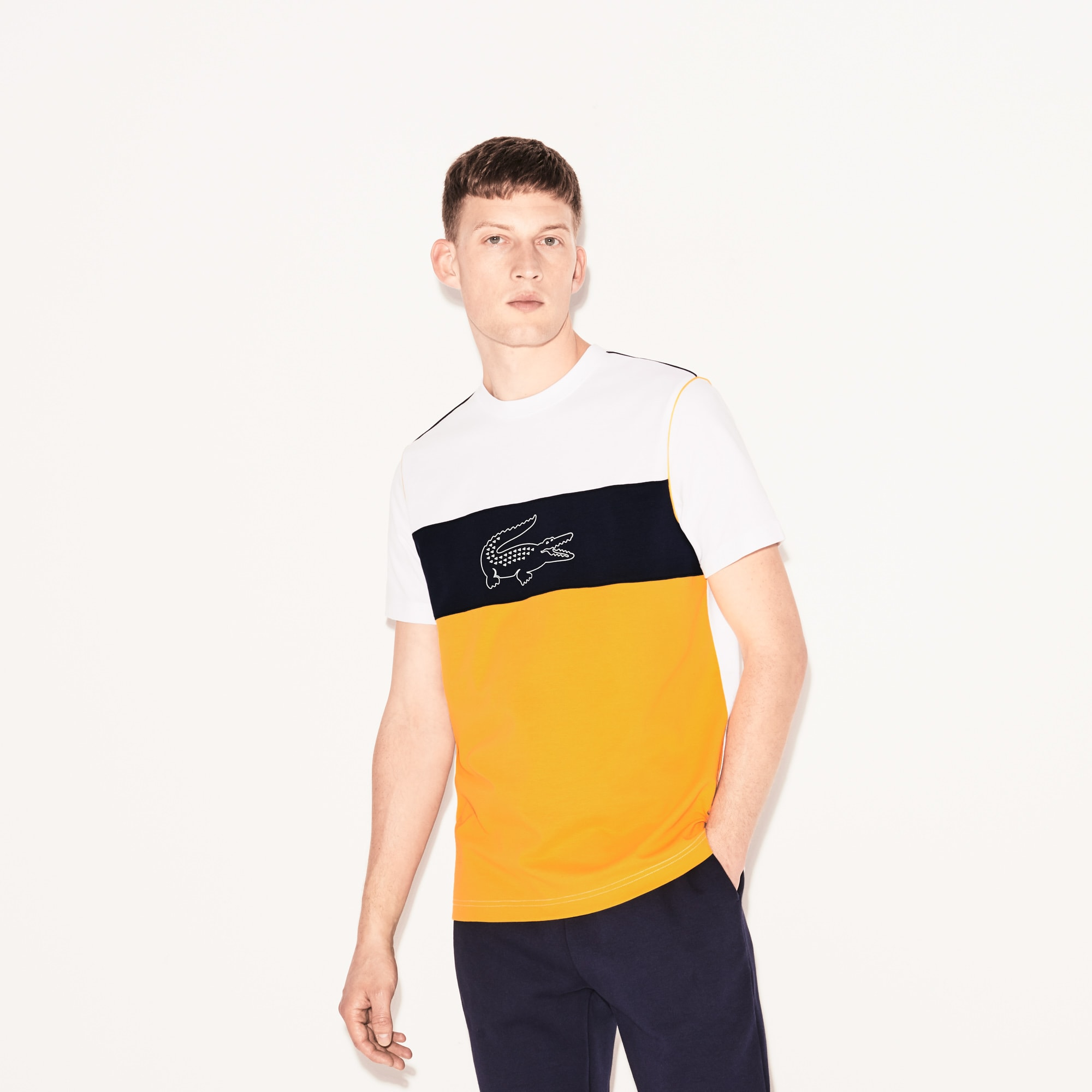 T-shirt Lacoste SPORT in cotone tecnico ultra leggero color block