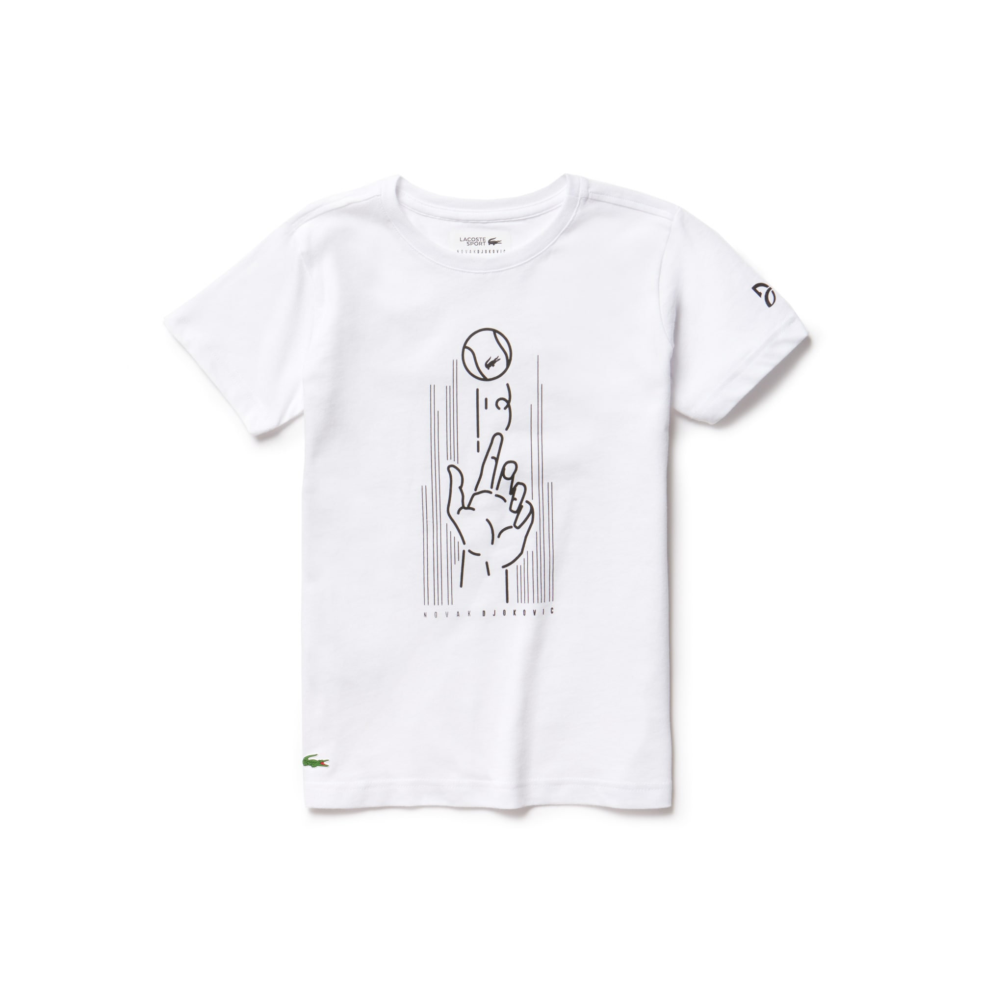 T-shirt Bambino Lacoste SPORT Collezione Novak Djokovic Support With Style - Off Court in jersey tecnico con stampa