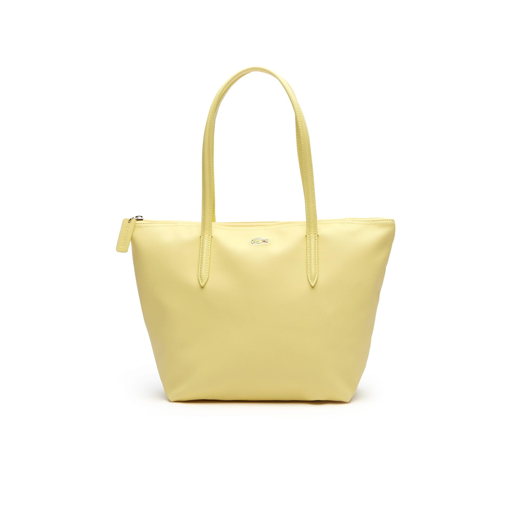 Shopping bag piccola con zip L.12.12 Concept tinta unita