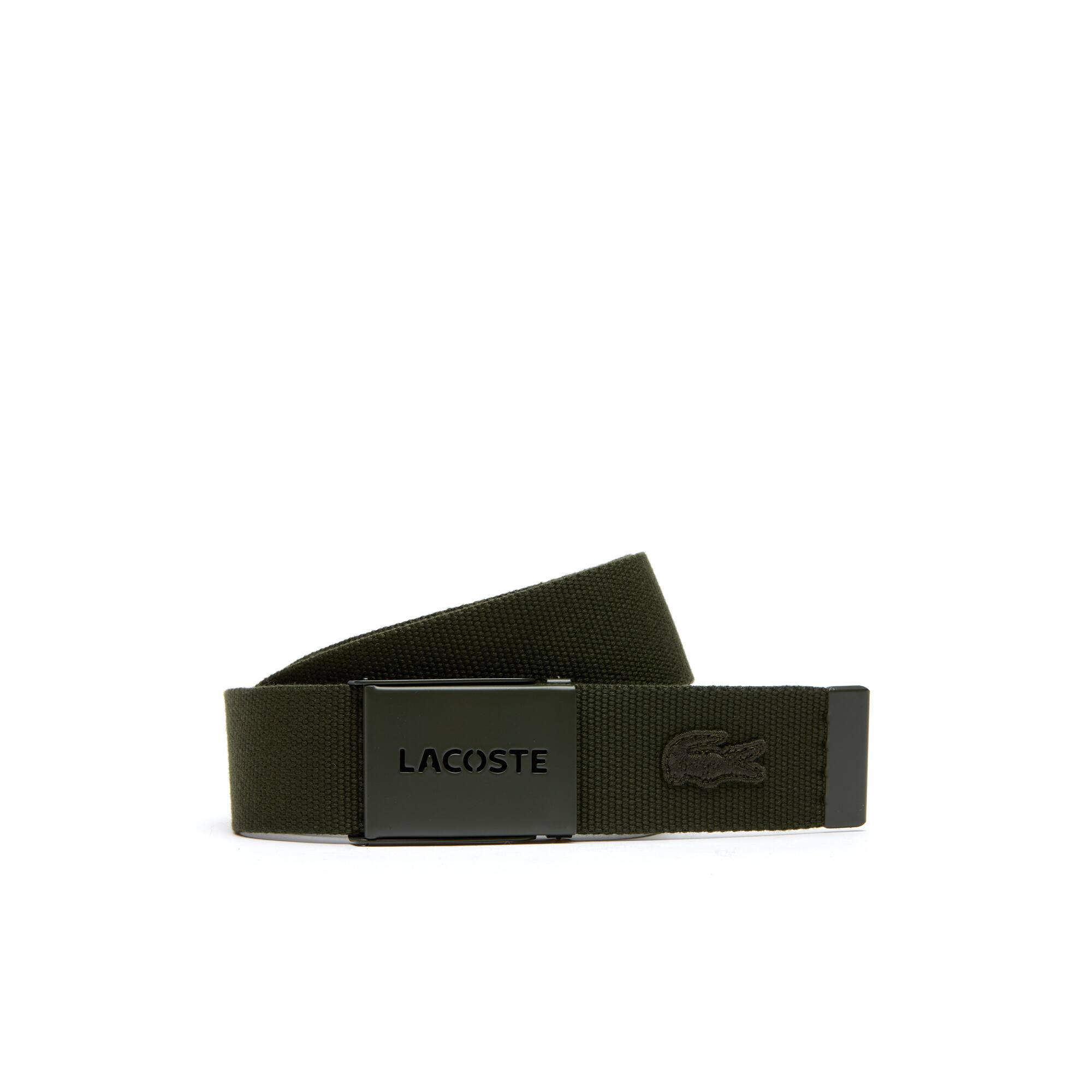 Cofanetto regalo con cintura in tela dotata di placca monocroma perforata con scritta Lacoste