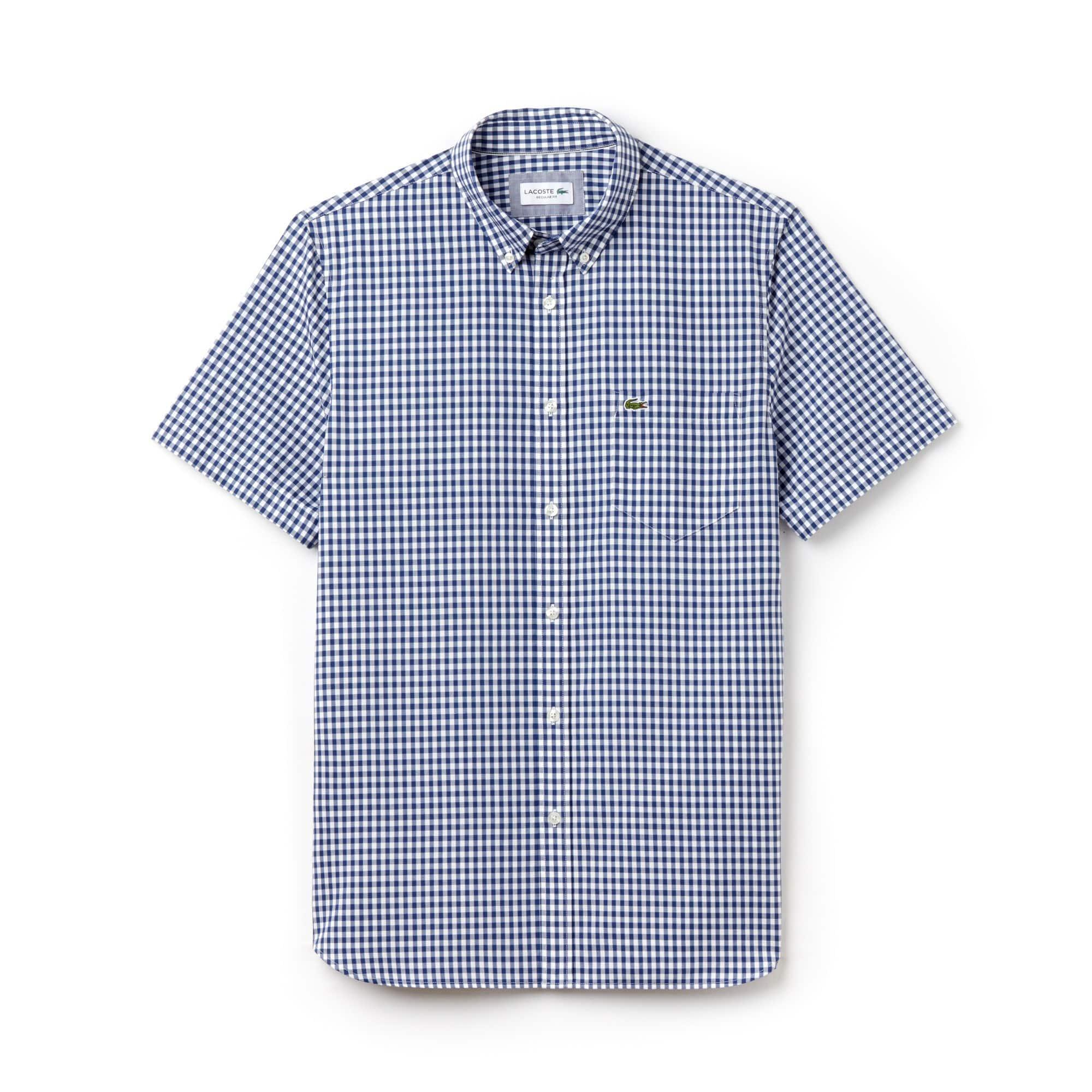 Camicia regular fit a maniche corte in popeline a quadretti vichy