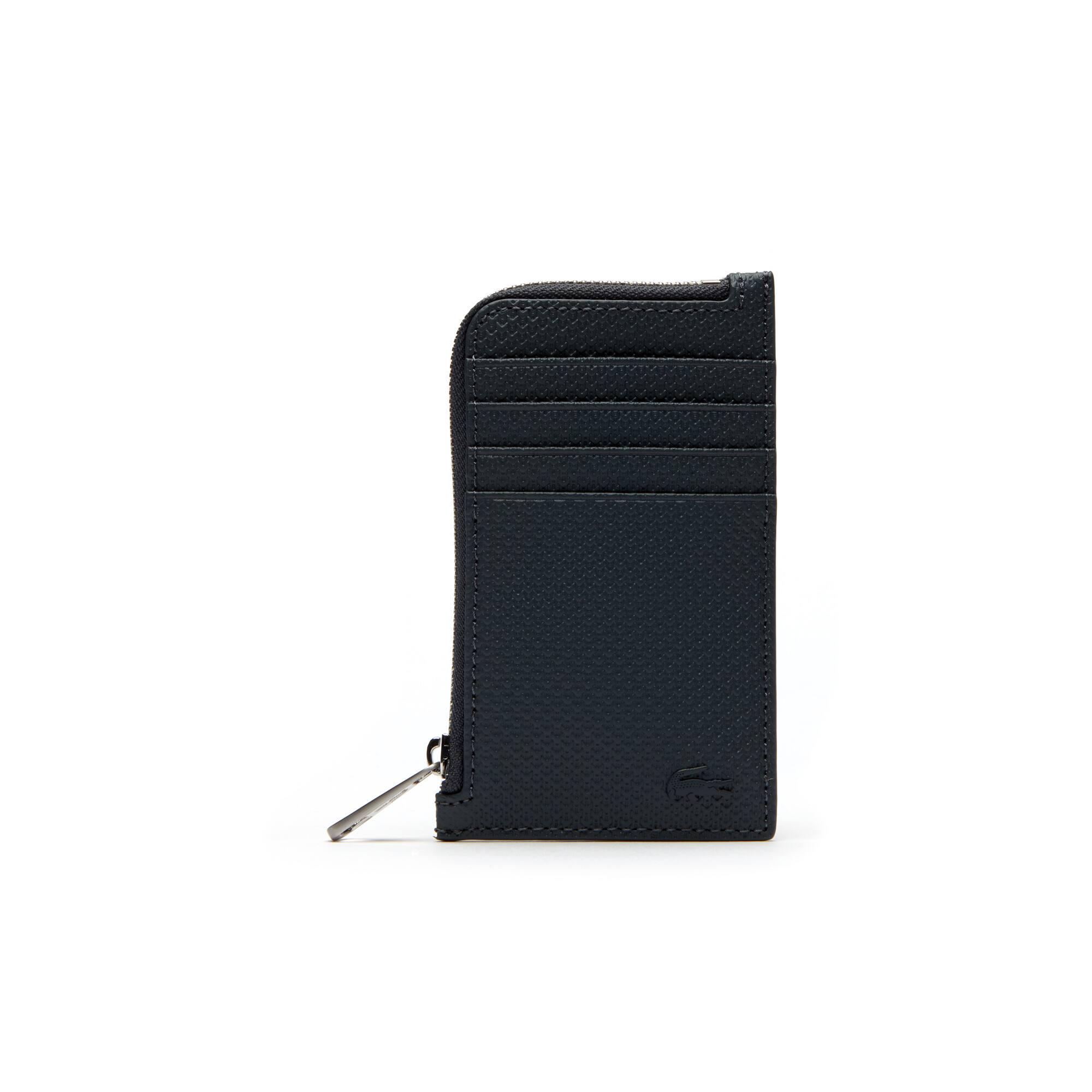 Porta carte di credito con zip Chantaco in pelle opaca a piqué tinta unita