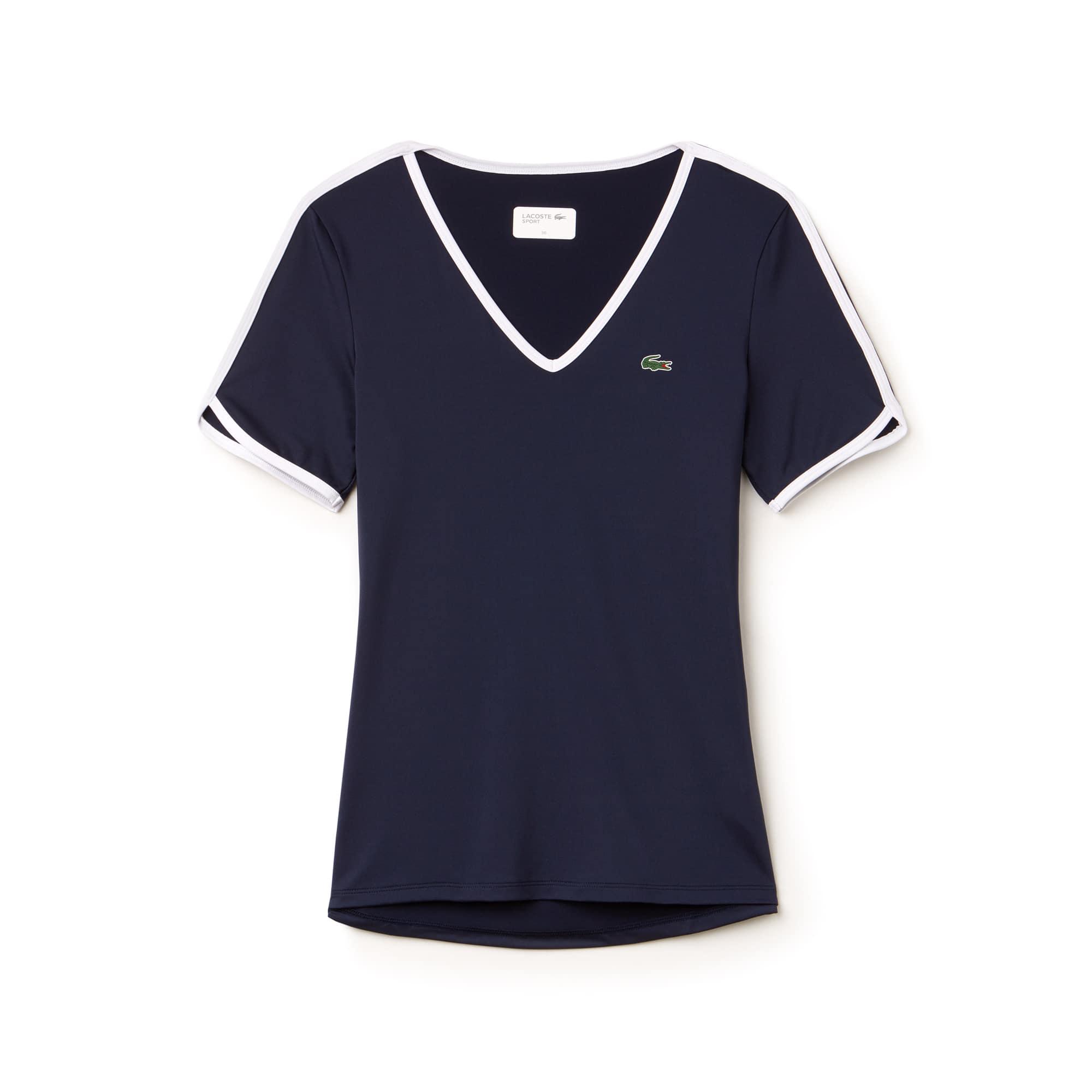 T-shirt con collo a V Tennis Lacoste SPORT in jersey stretch tecnico