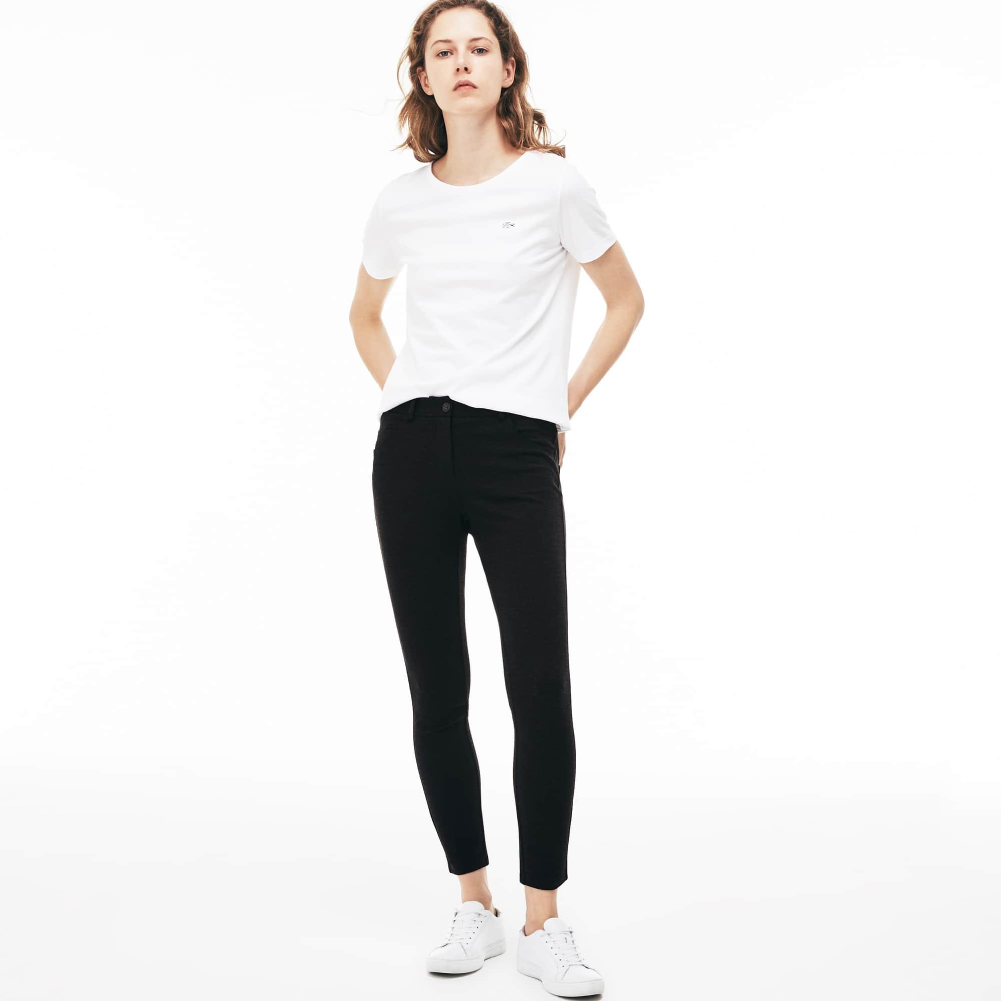 Pantaloni 5 tasche in maglia Milano stretch tinta unita