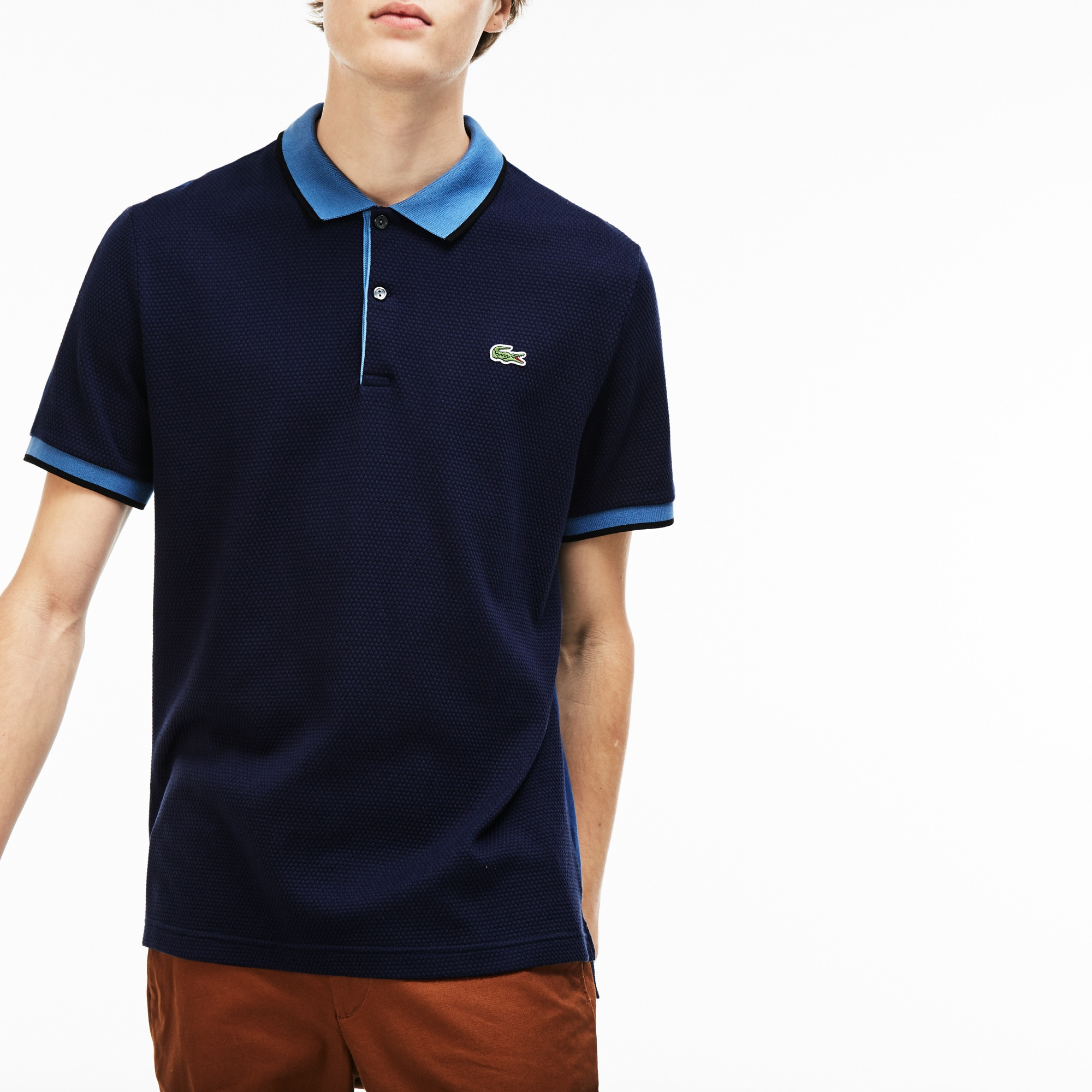Polo slim fit Lacoste LIVE in maglia di cotone color block