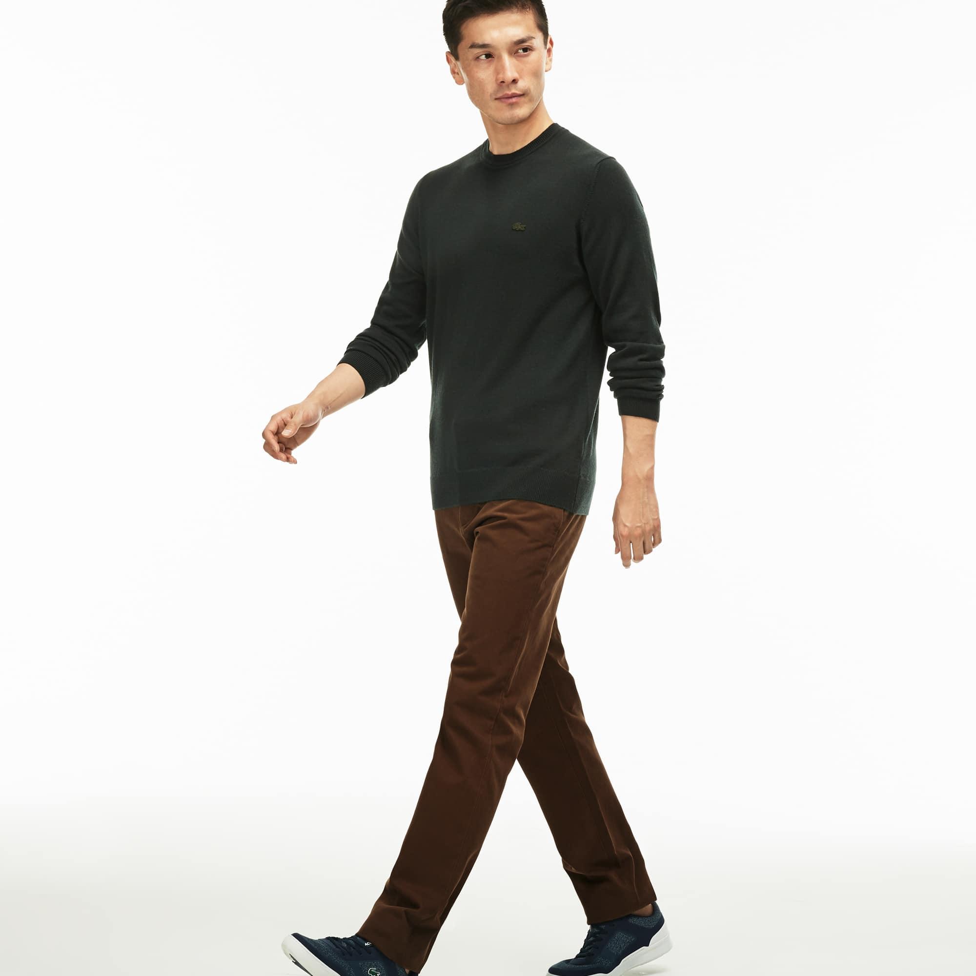 Pantalone chino dal taglio regolare in gabardine di cotone tinta unita