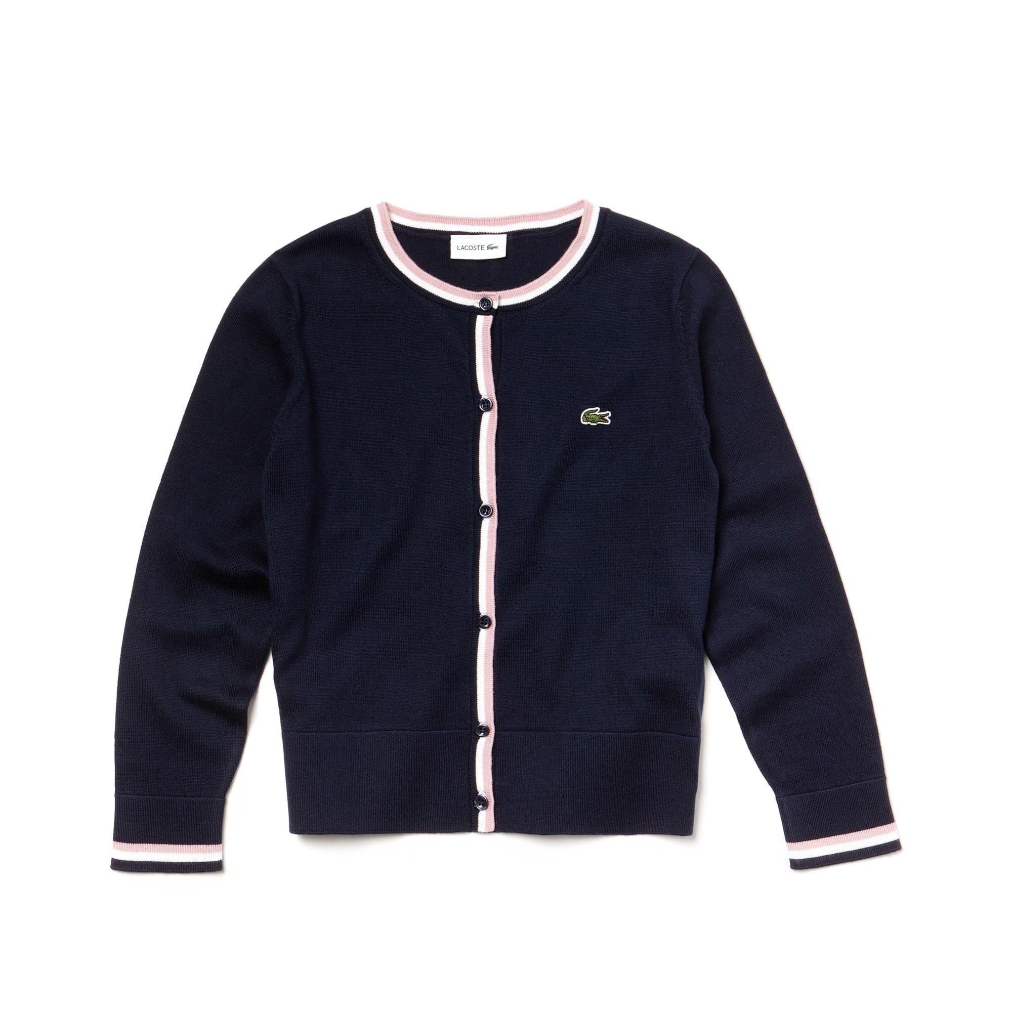 Pullover da bambina in jersey di cotone con finiture a contrasto