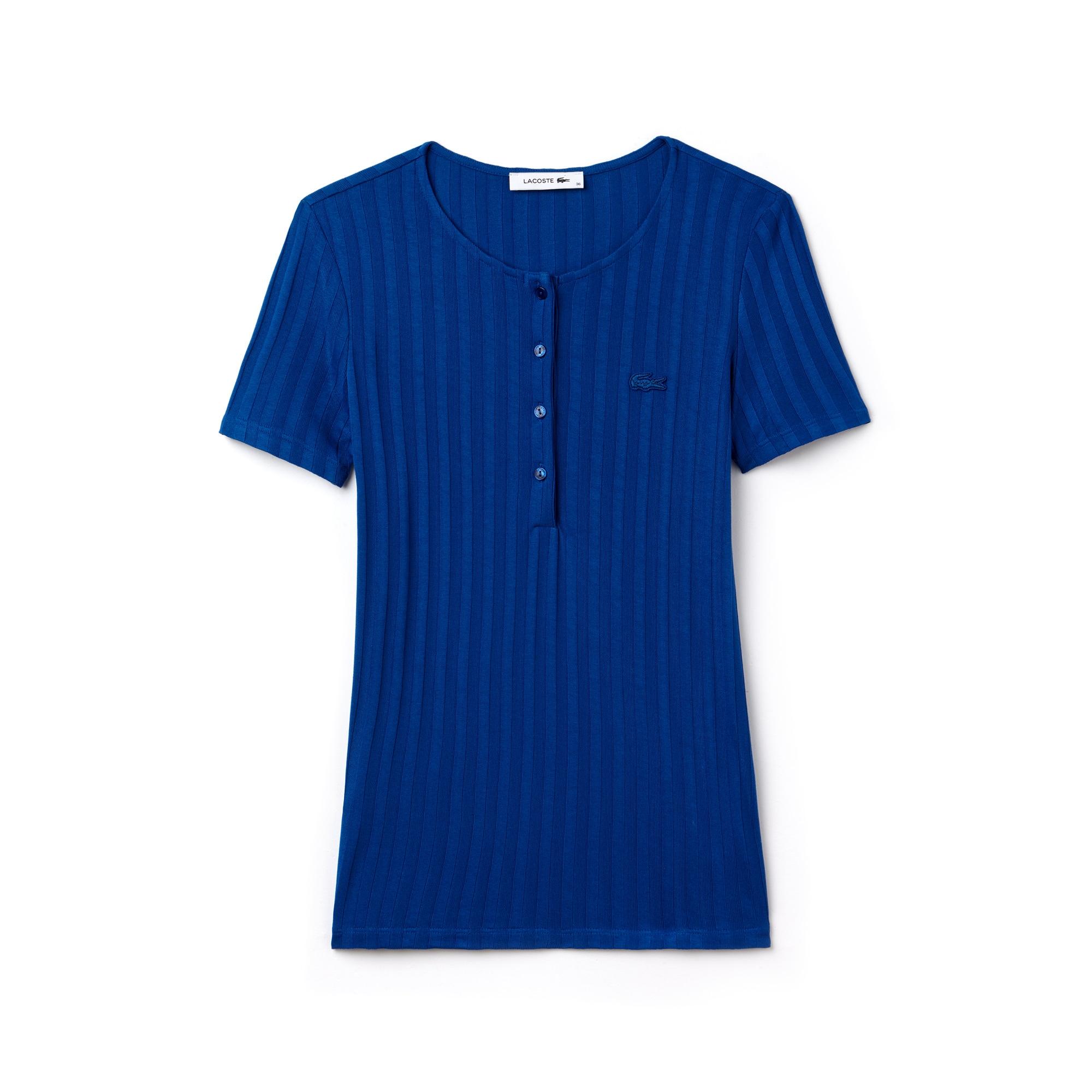T-shirt con collo a serafino in maglia a costine tinta unita