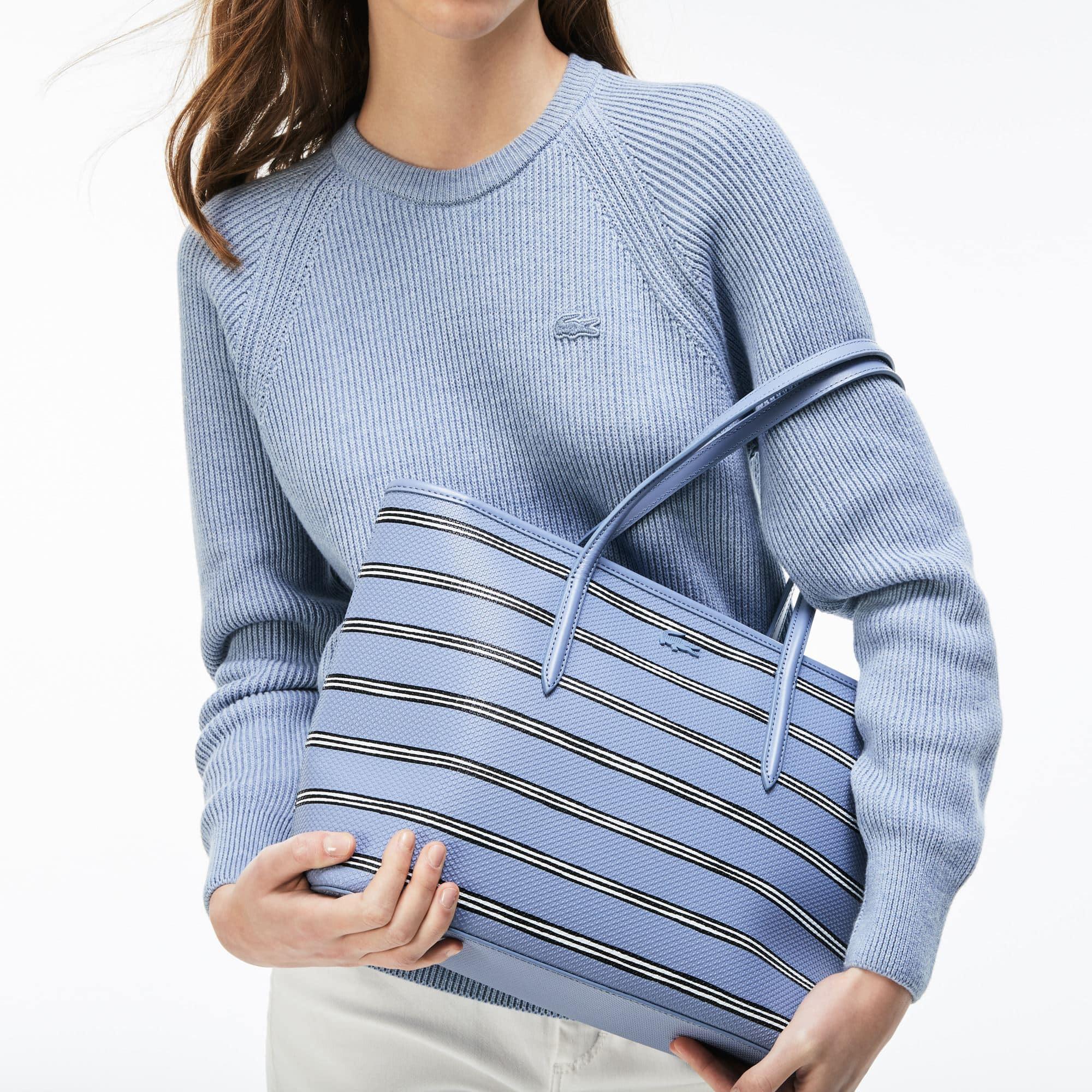 Shopping bag con zip Chantaco in pelle a piqué con stampa a righe