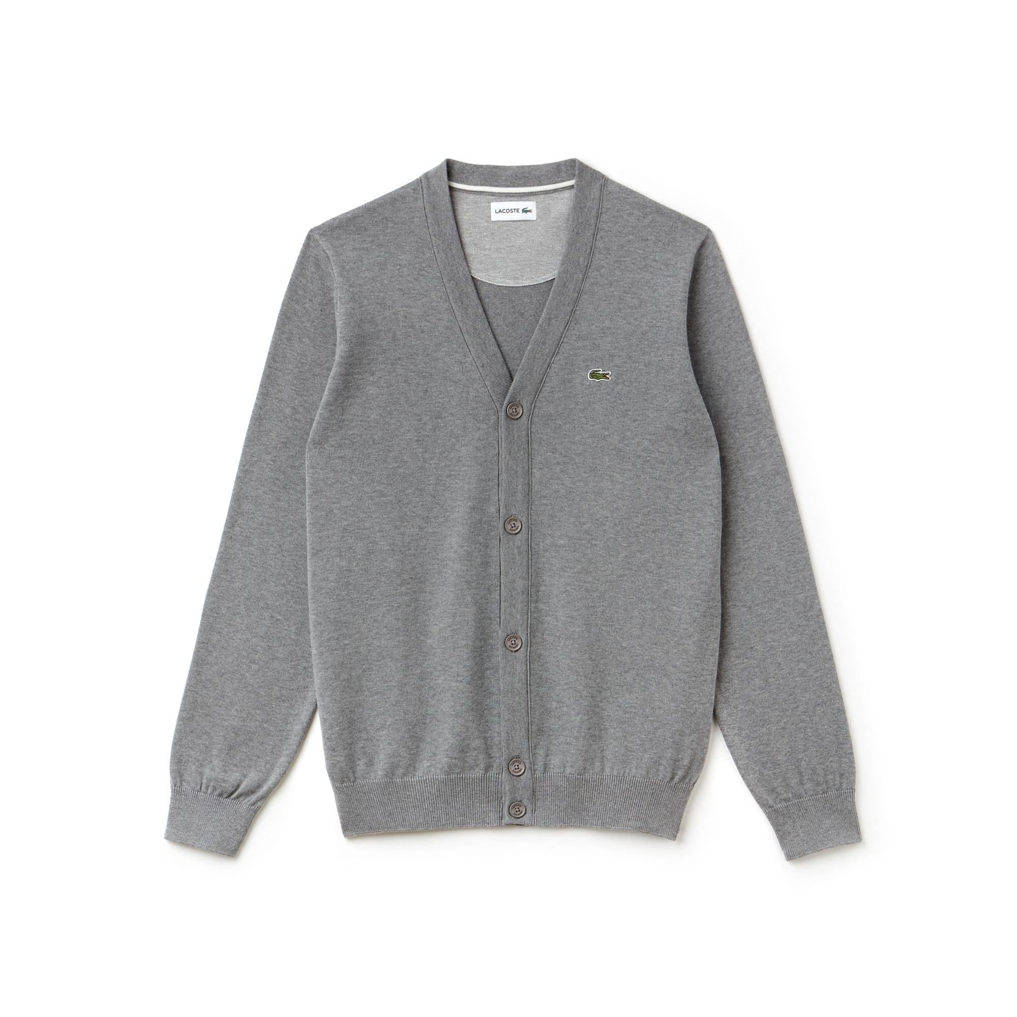 Cardigan in jersey di cotone tinta unita