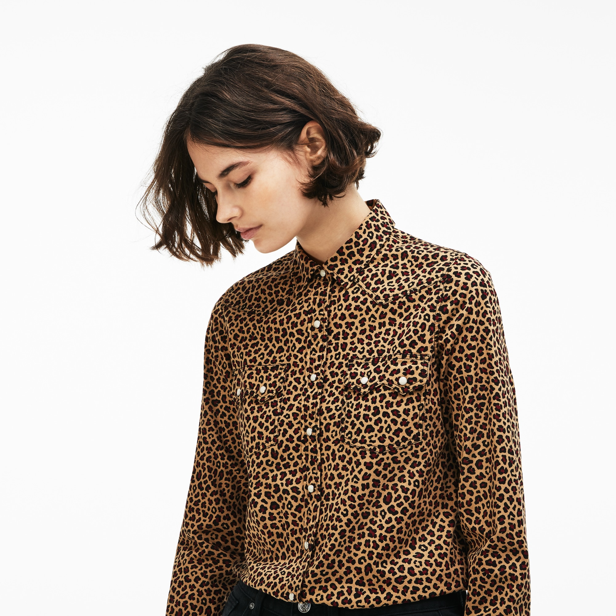 Camicia slim fit Lacoste LIVE in twill stretch con stampa leopardata
