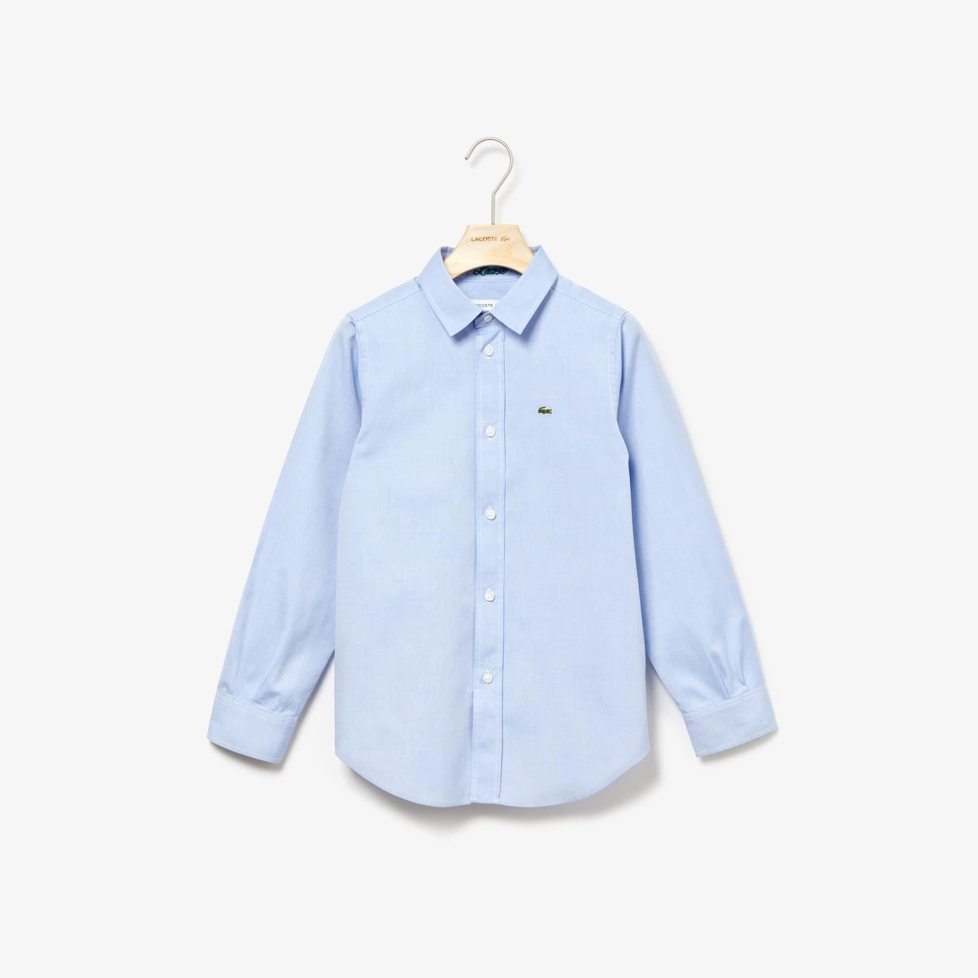 Camicia da bambino in cotone Oxford tinta unita