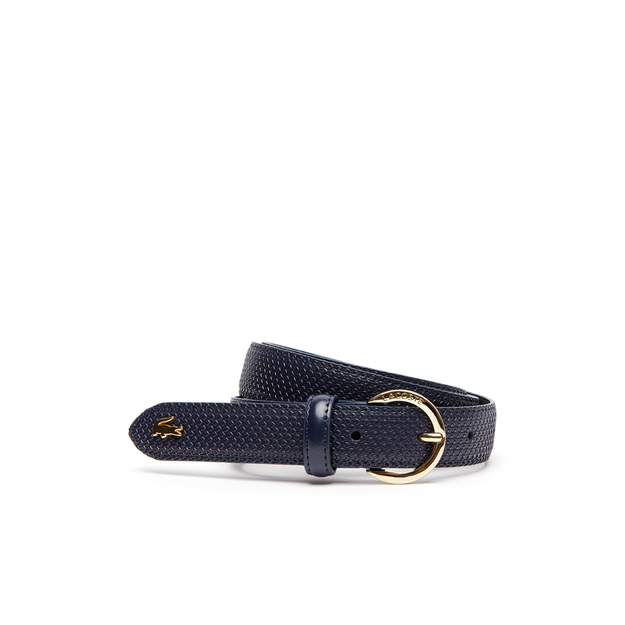 Cintura in pelle Chantaco con fibbia rotonda dotata di incisione Lacoste
