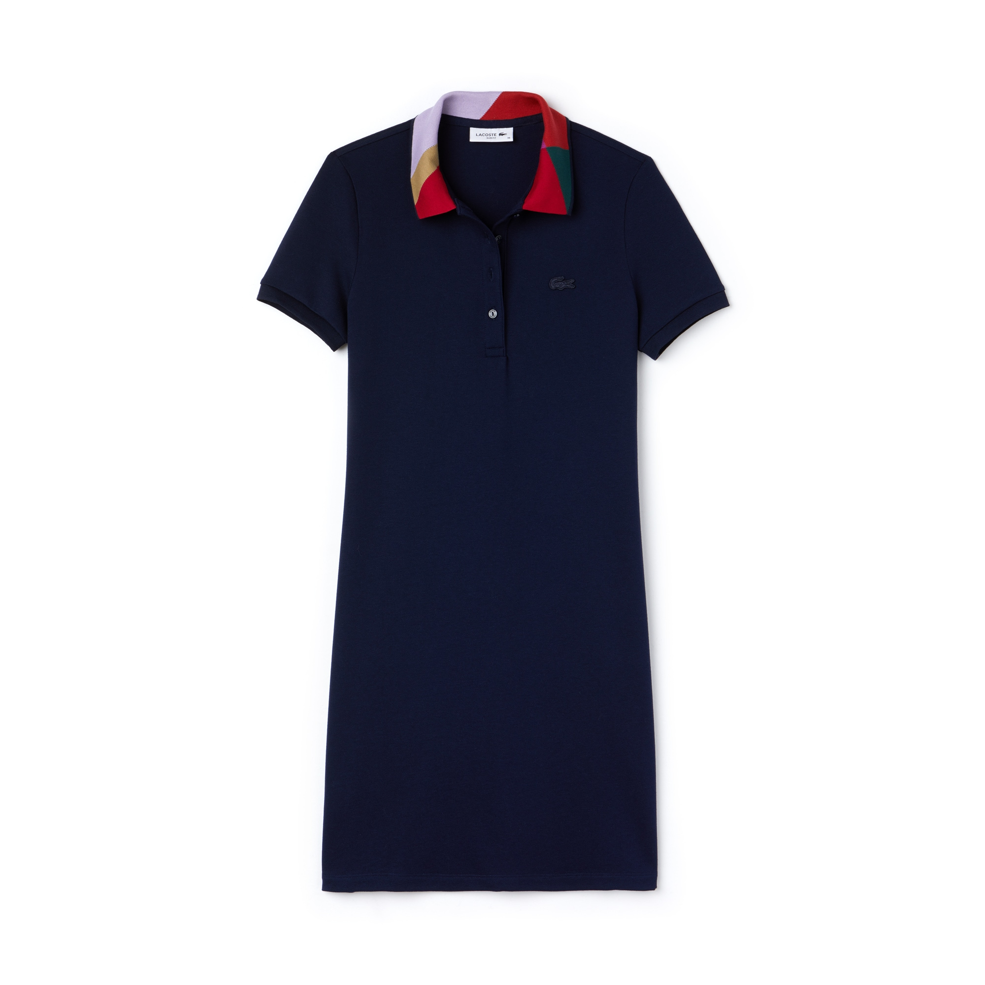 Abito a polo slim fit in mini piqué con collo jacquard color block