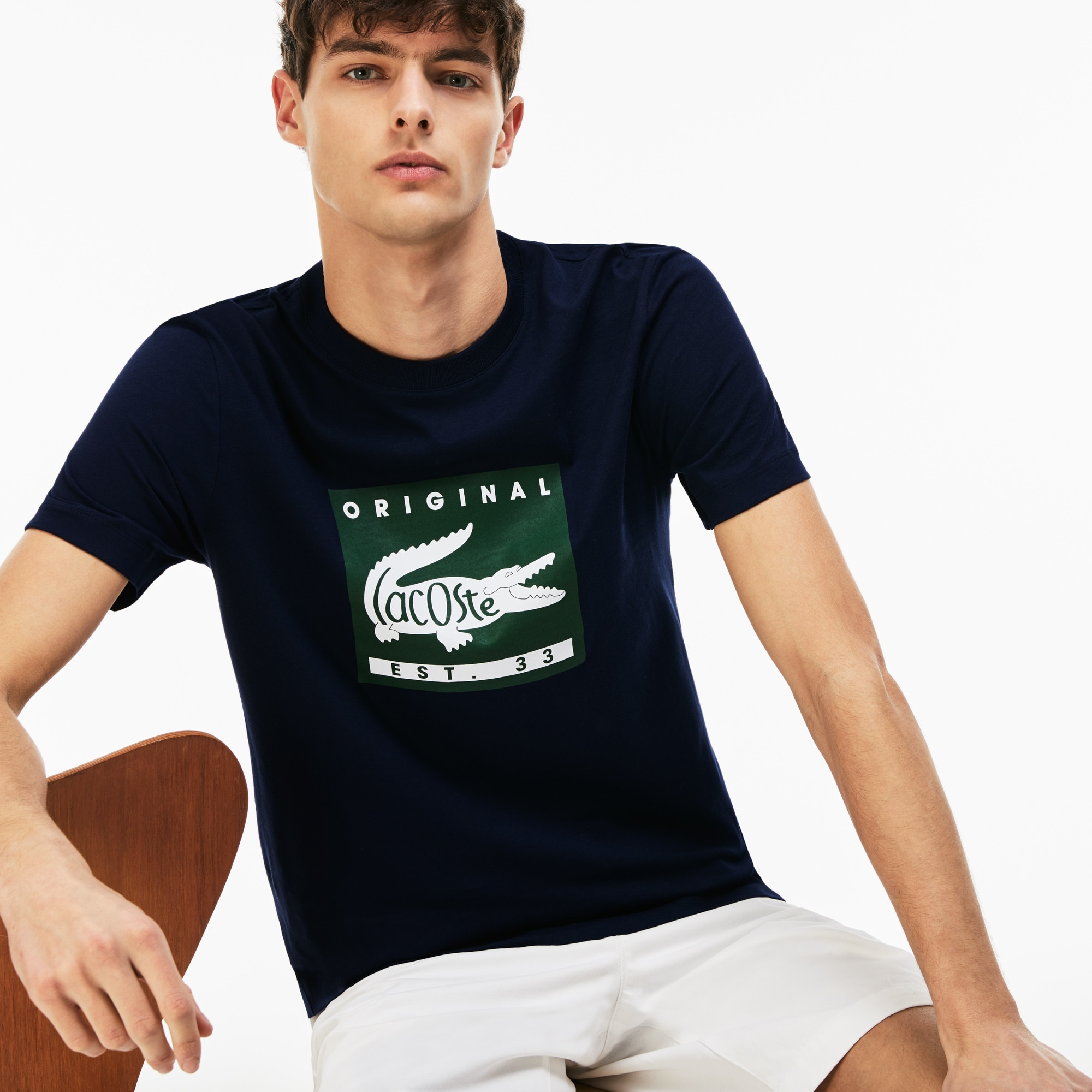 T-shirt a girocollo in jersey con marchio Lacoste Original