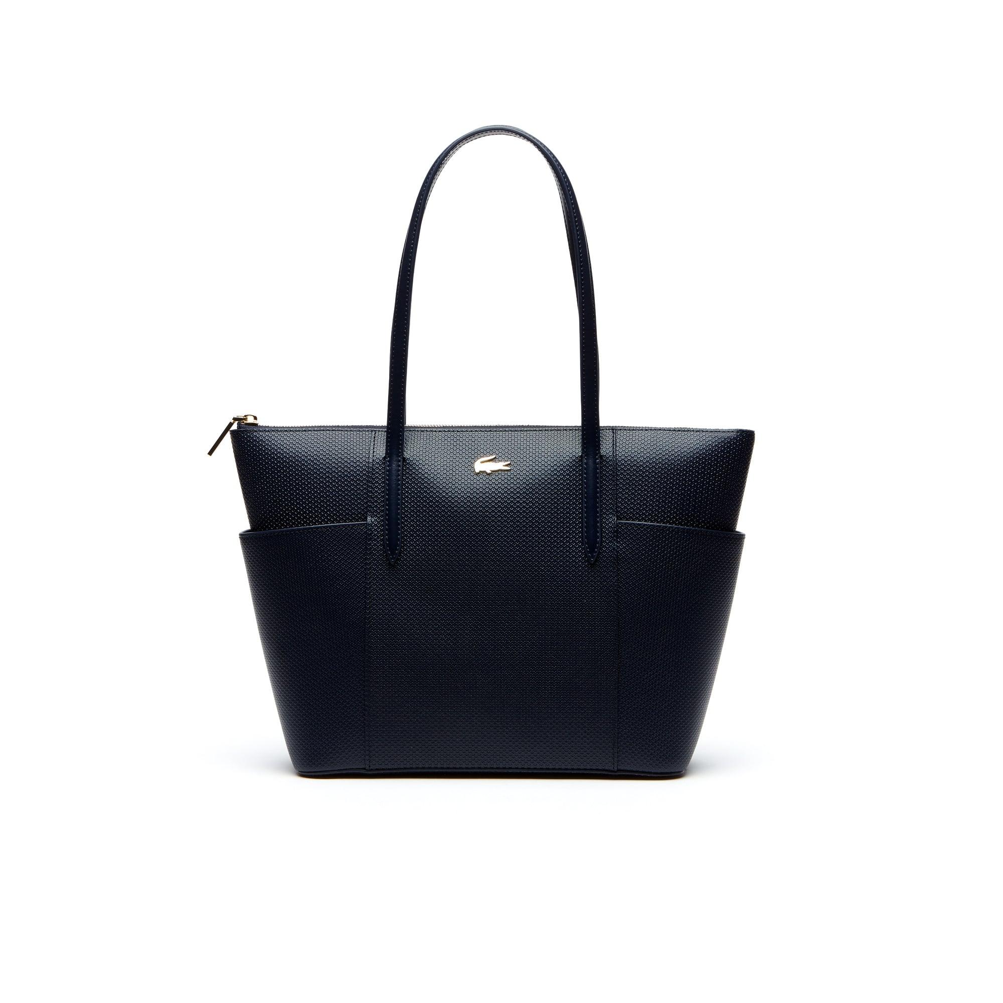 Shopping bag con zip e tasche Chantaco in pelle a piqué tinta unita