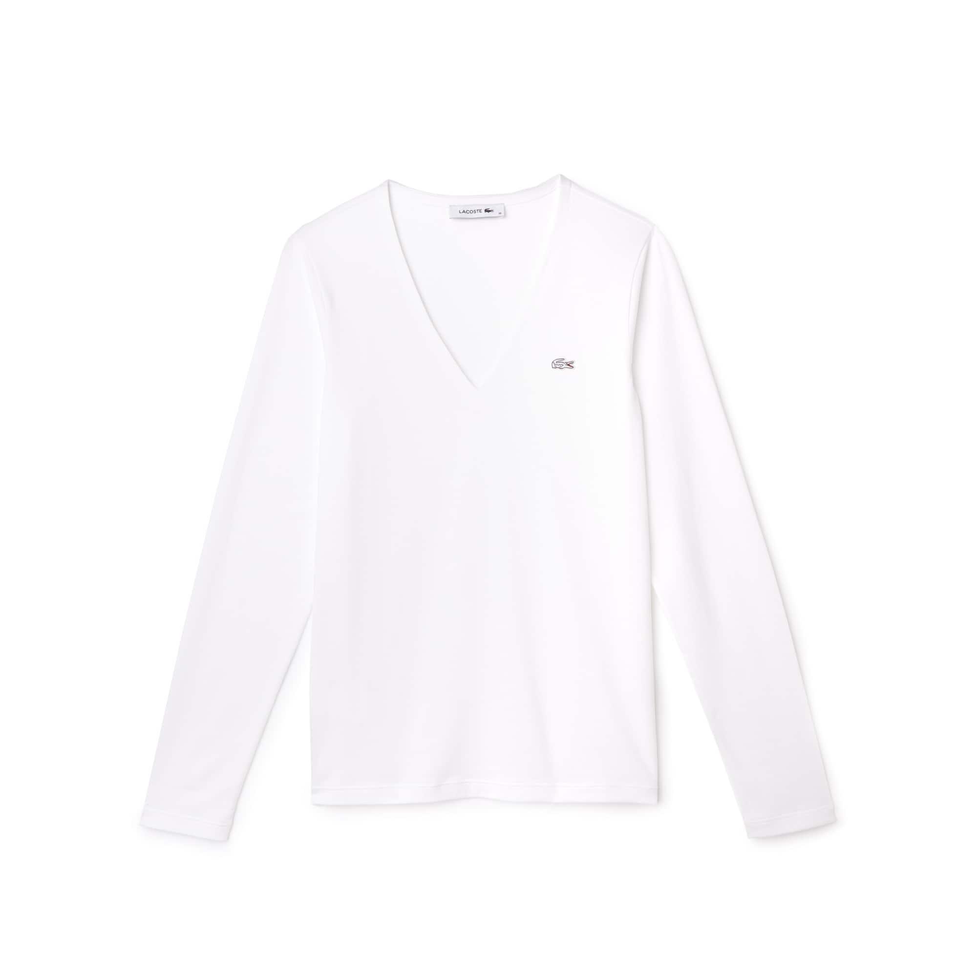 T-shirt con collo a V a maniche lunghe in jersey di cotone fluido tinta unita