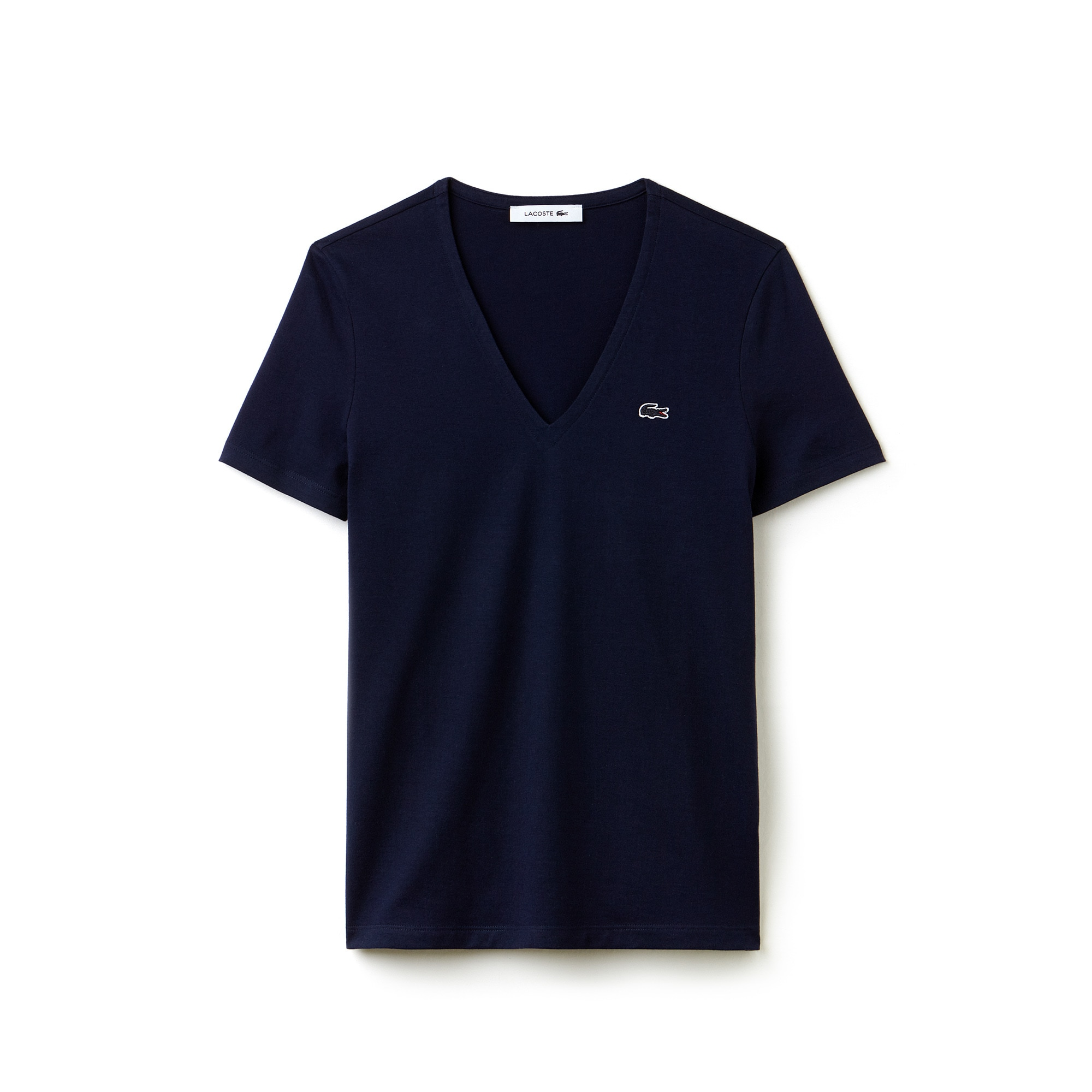 T-shirt con collo a V slim fit in jersey di cotone tinta unita