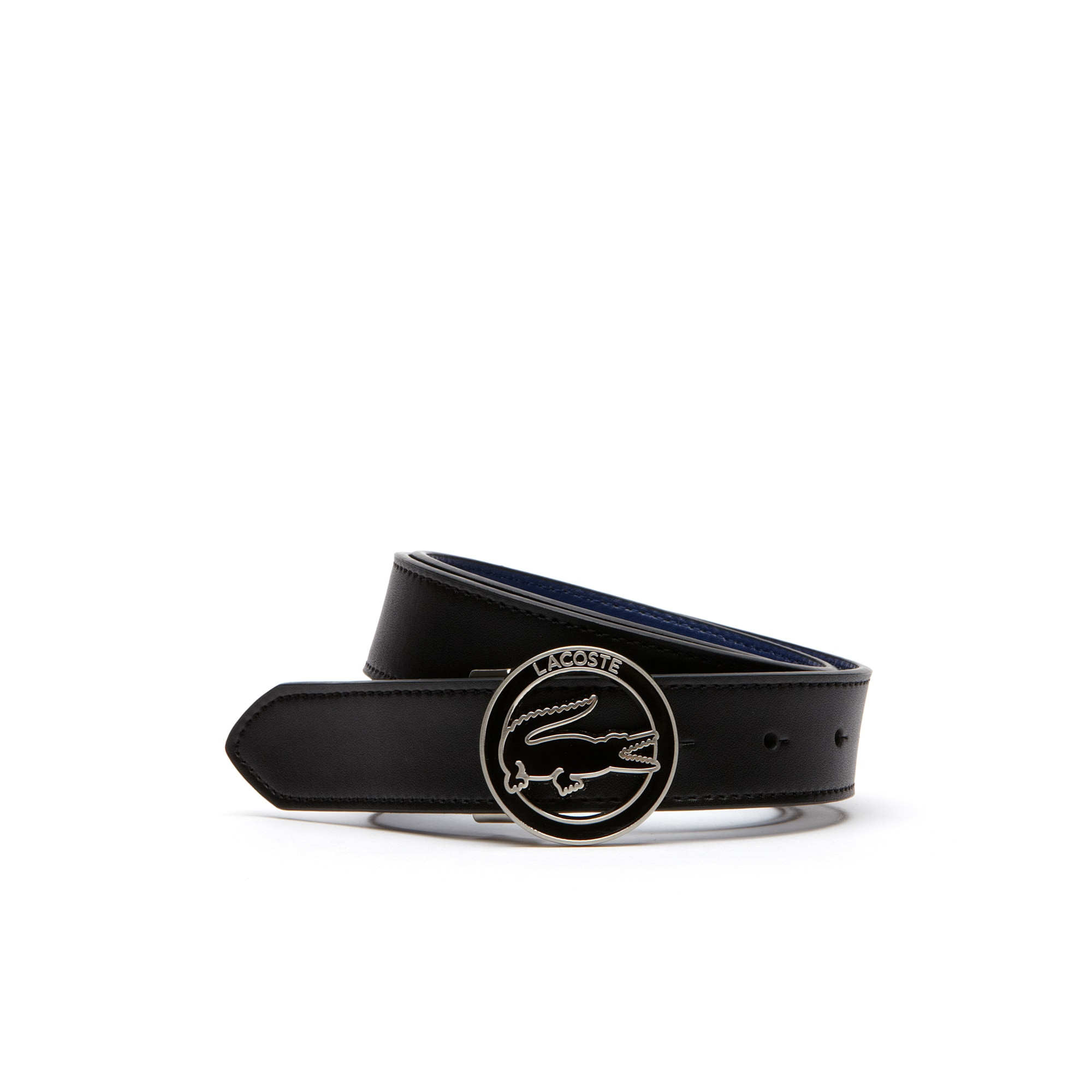Belt in leather with round crocodile buckle