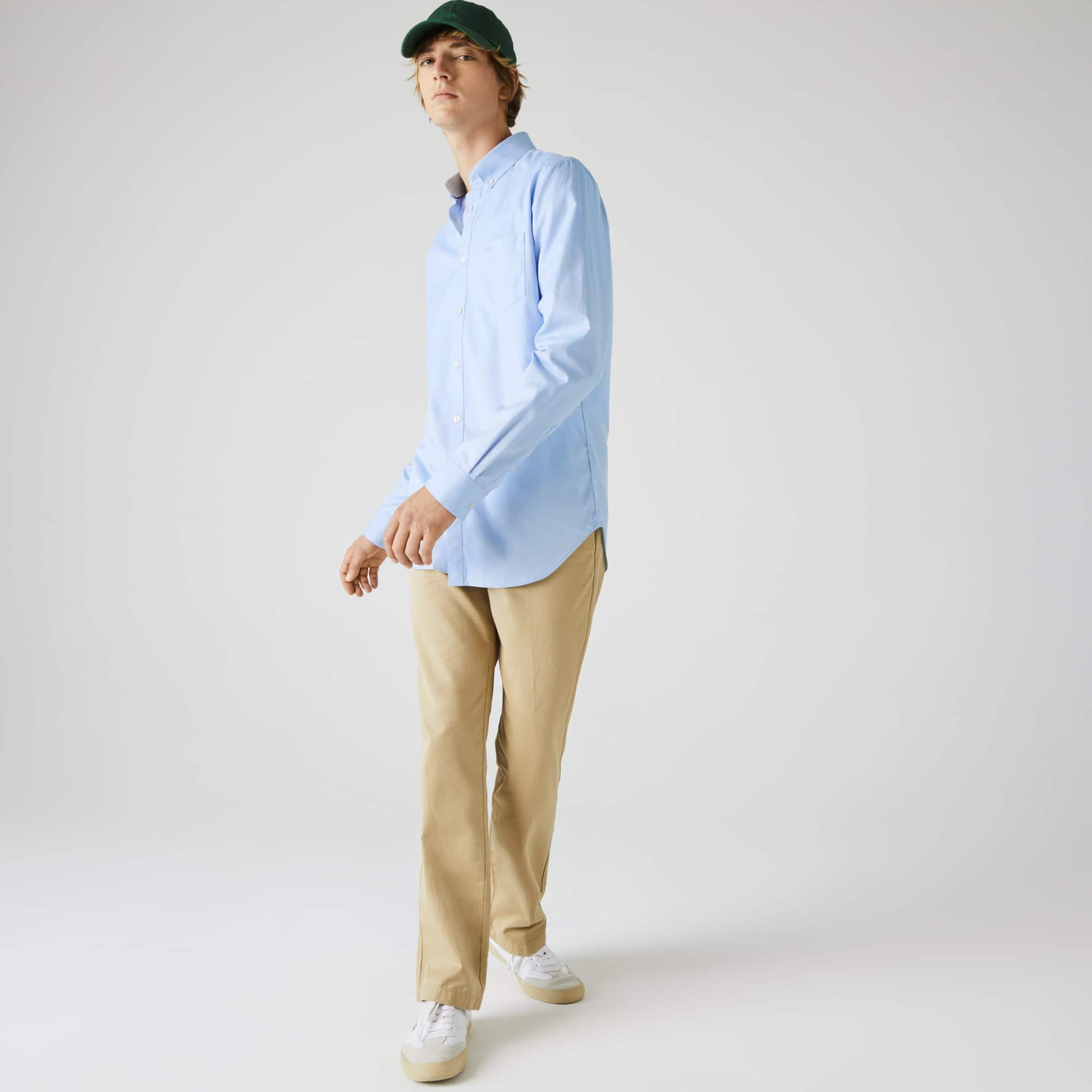 Camicia regular fit in mini piqué di cotone tinta unita