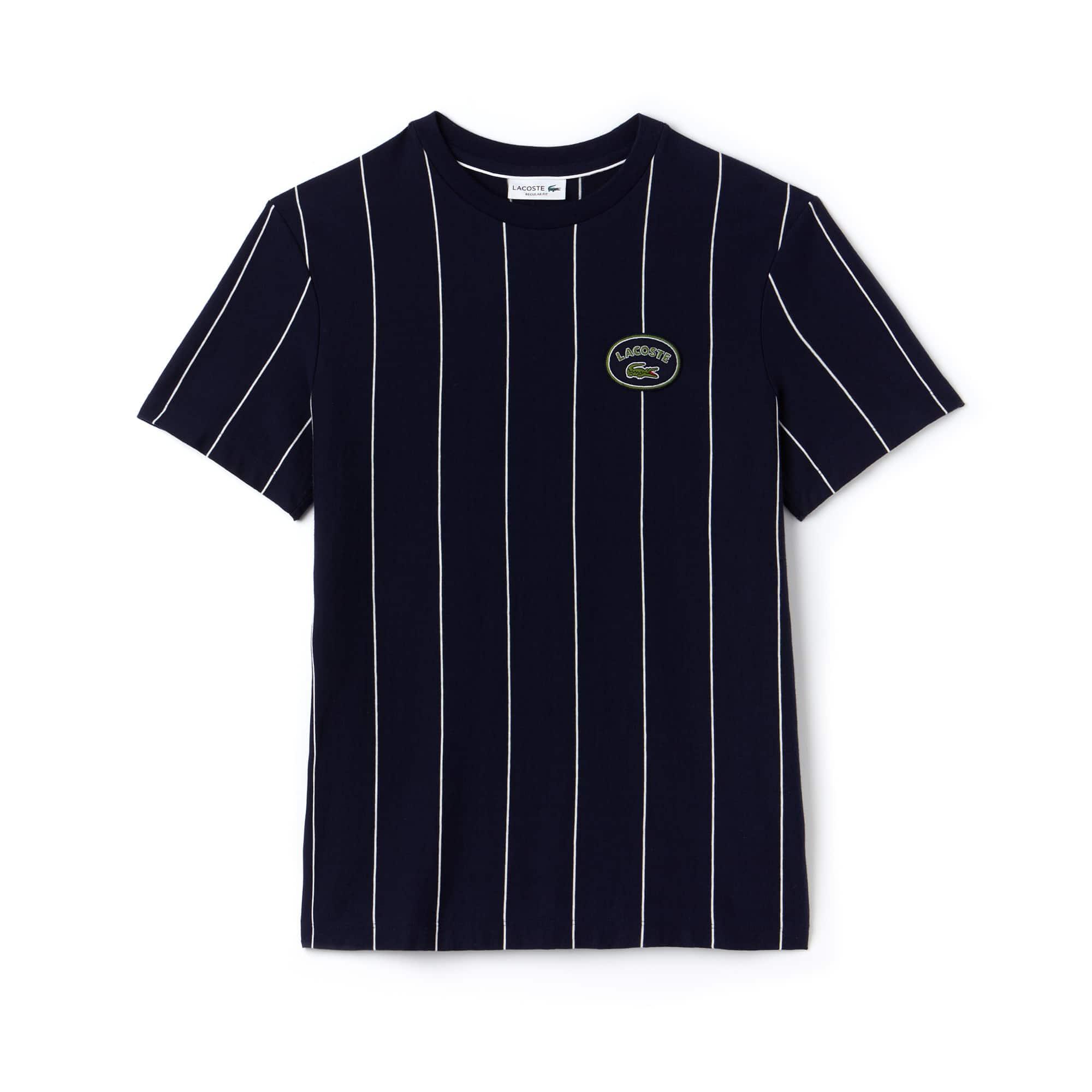 T-shirt a girocollo in jersey di cotone a righe verticali