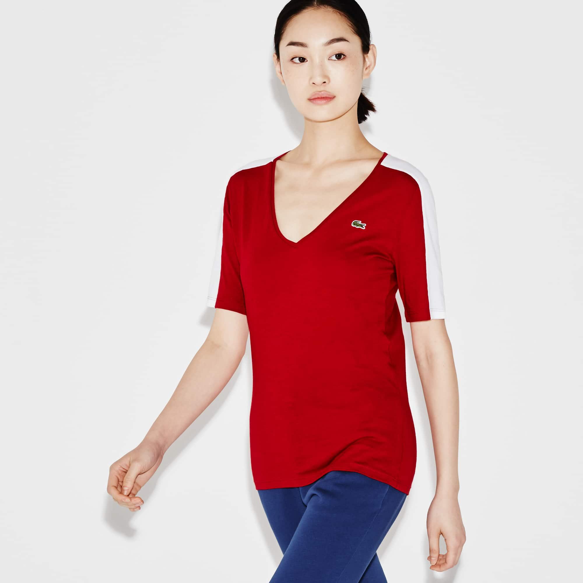 T-shirt con collo a V Tennis Lacoste SPORT in jersey fluido