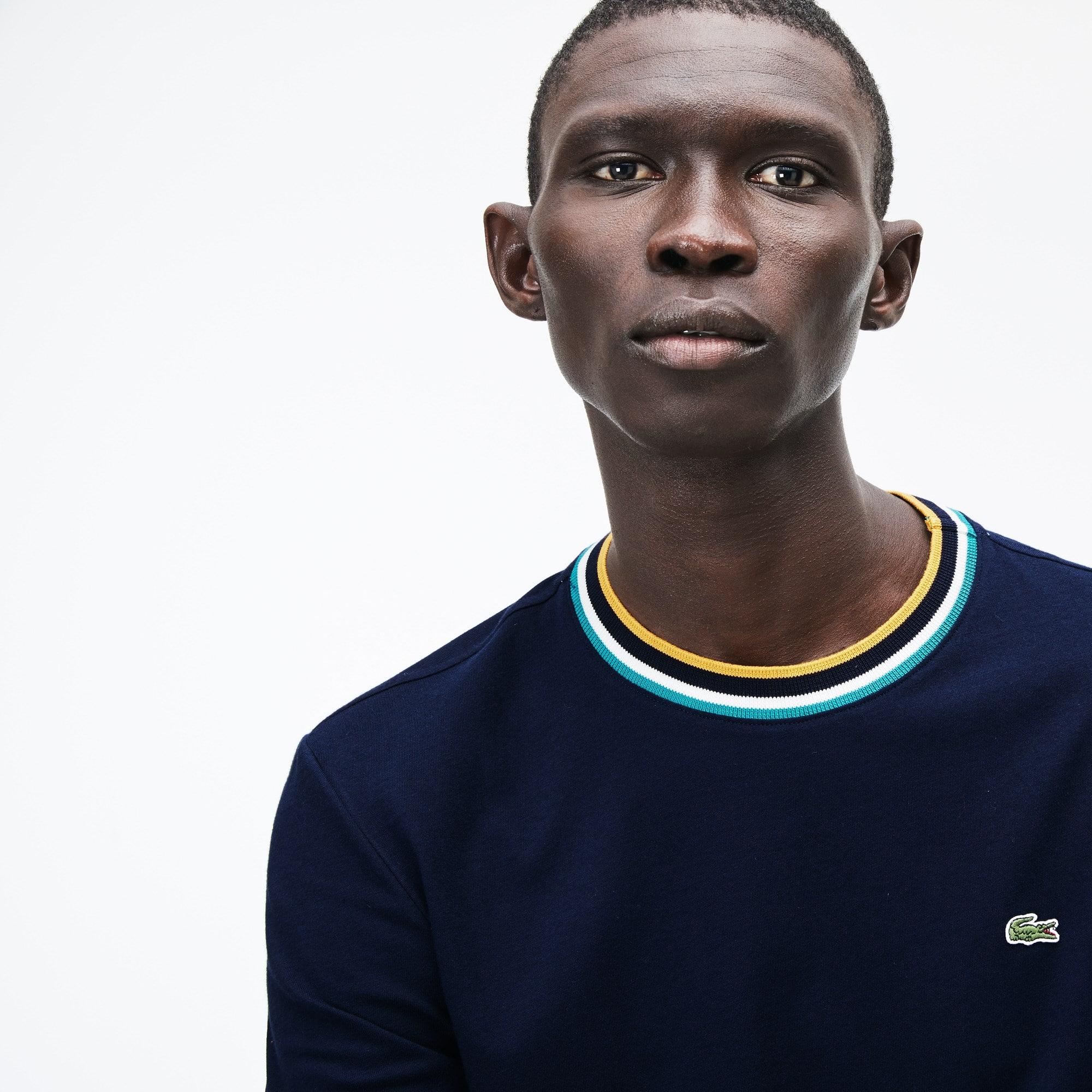 T-shirt a girocollo a righe con bordi a costine in jersey di cotone tinta unita