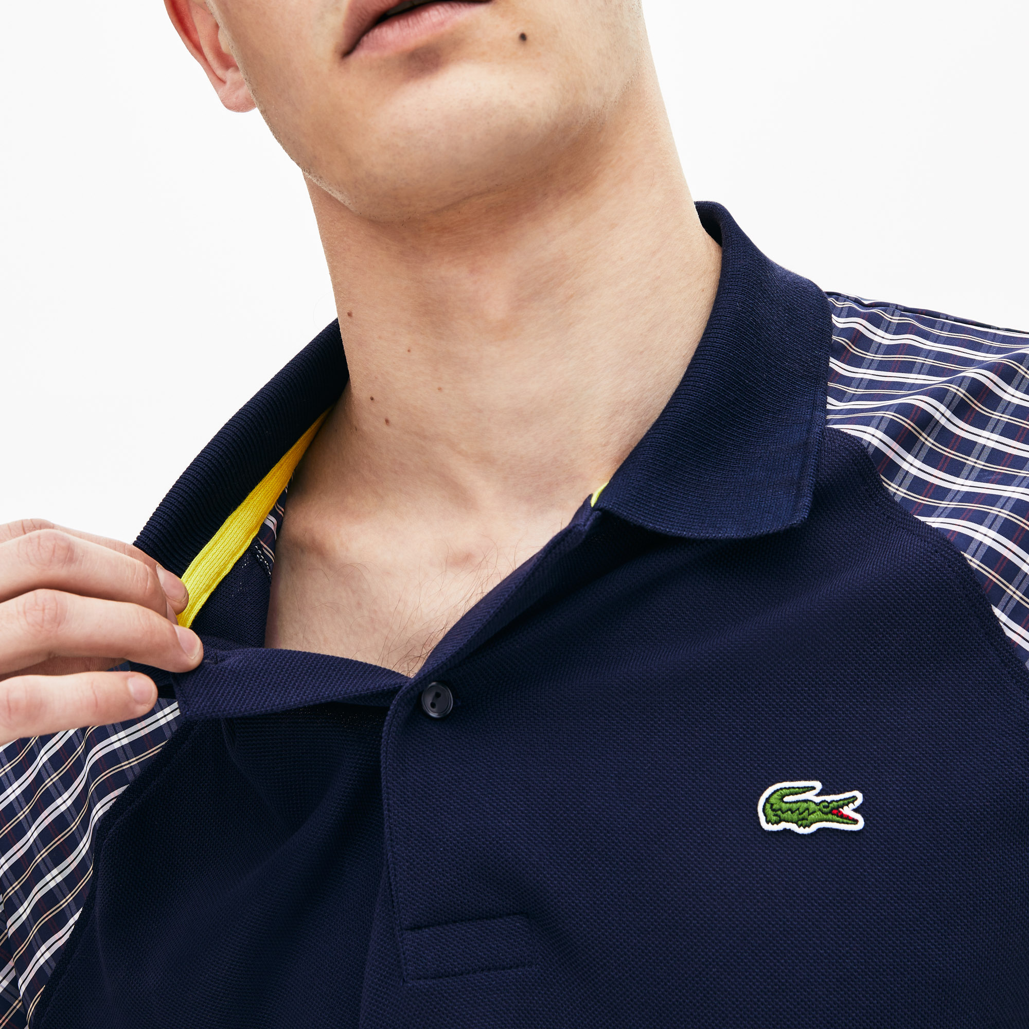 Polo da uomo in petit piqué patchwork loose fit Lacoste LIVE