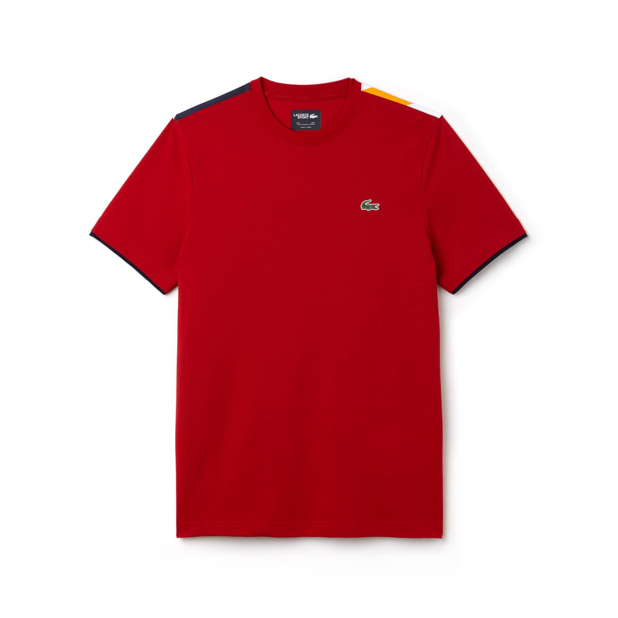 T-shirt a girocollo Tennis Lacoste SPORT in cotone ultra leggero con dettagli a contrasto