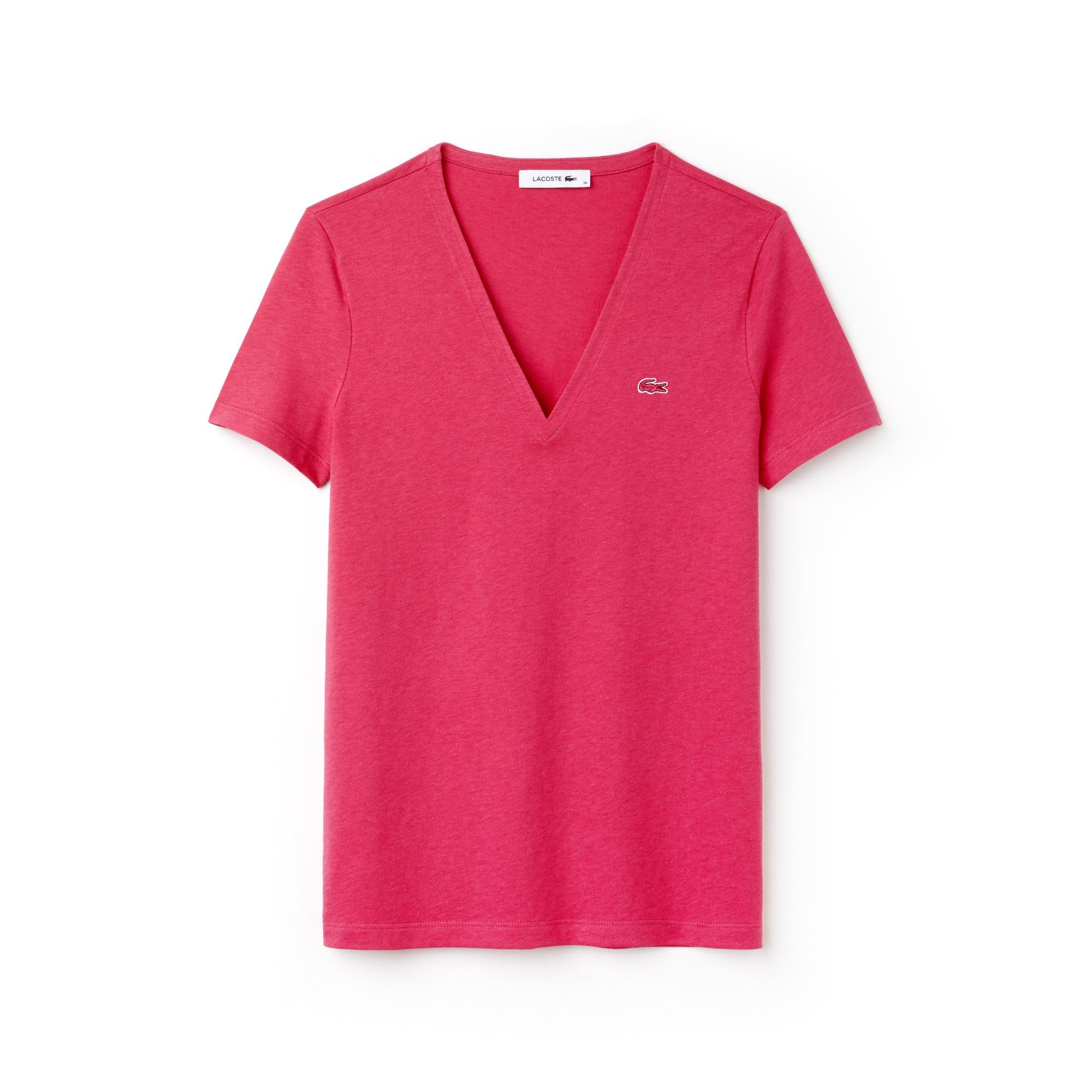 T-shirt con collo a V slim fit in jersey di cotone tinta unita