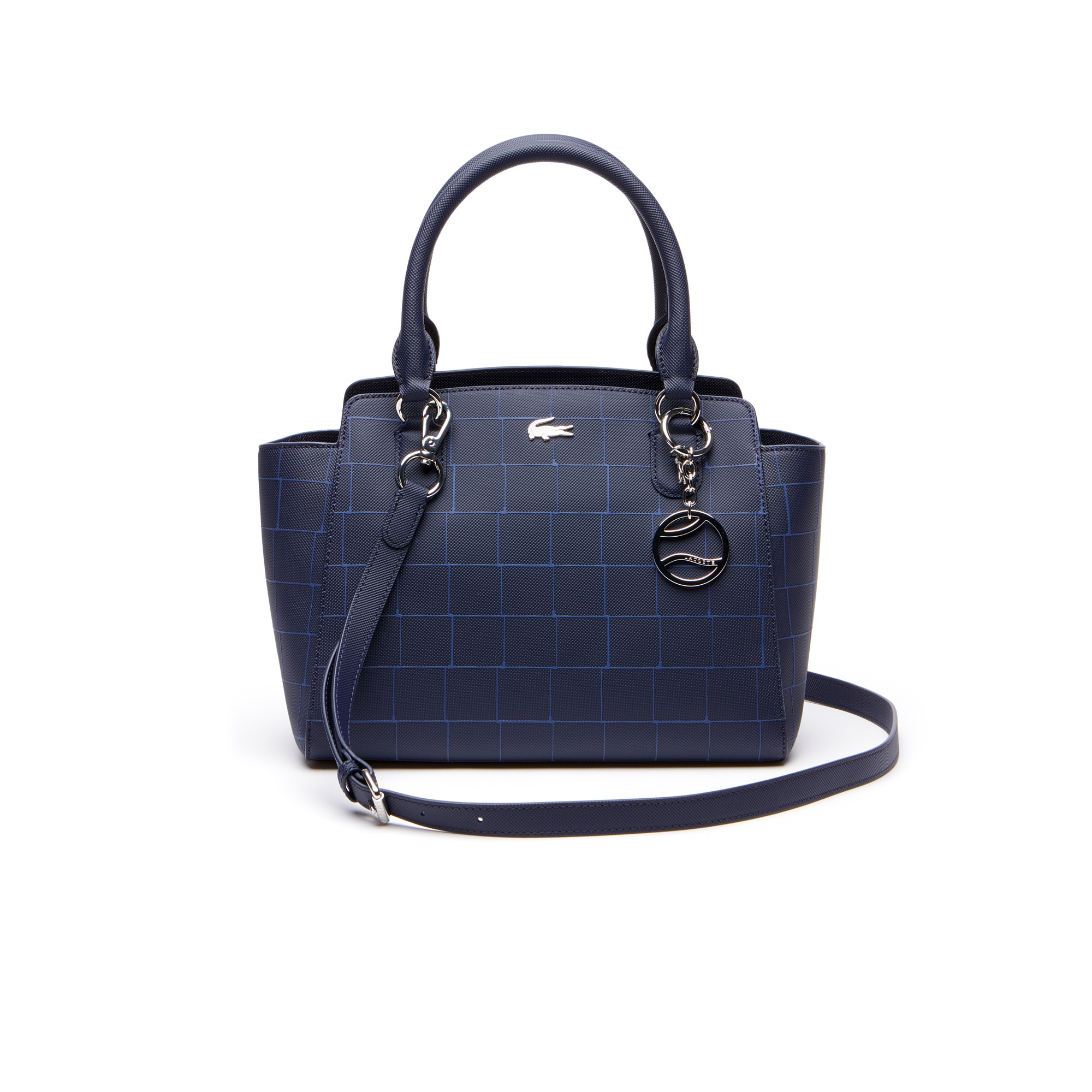 Shopping bag a soffietto in tela piqué spalmata con stampa a quadretti Daily Classic da donna